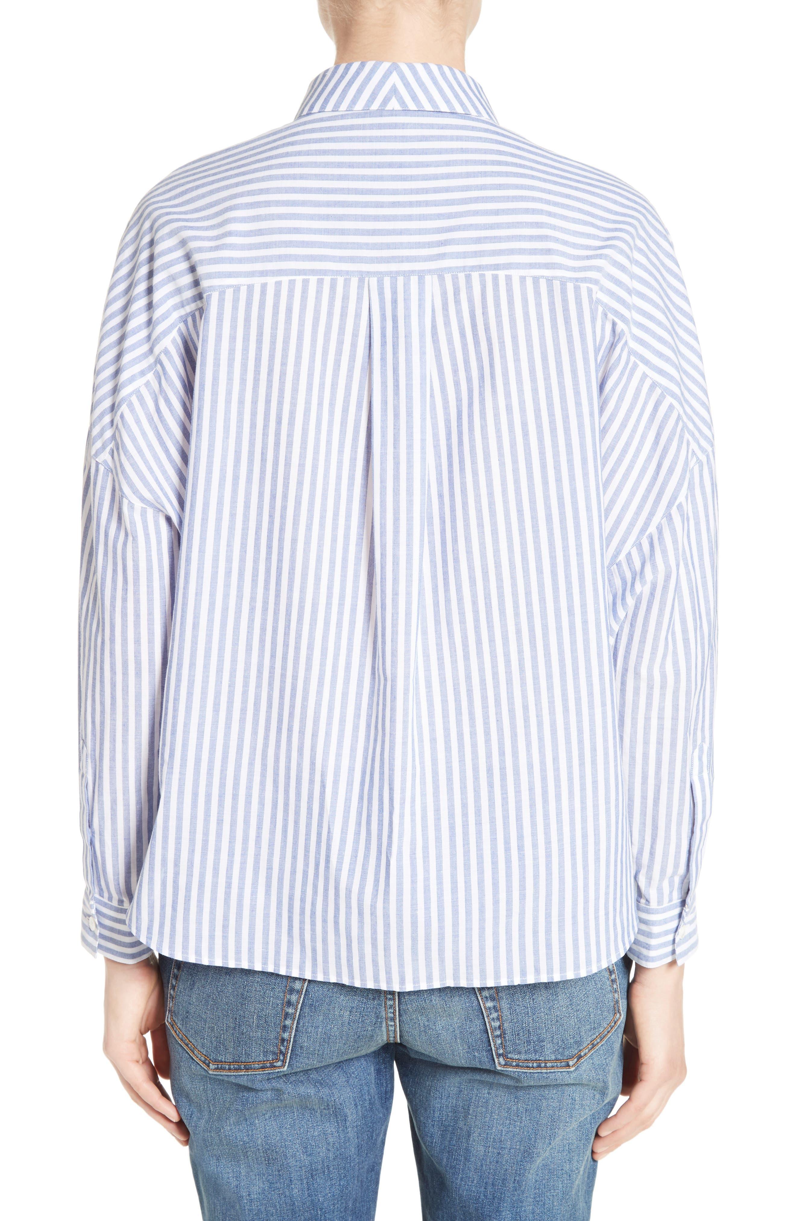 Posy Stripe Bib Boyfriend Shirt,                             Alternate thumbnail 2, color,                             456