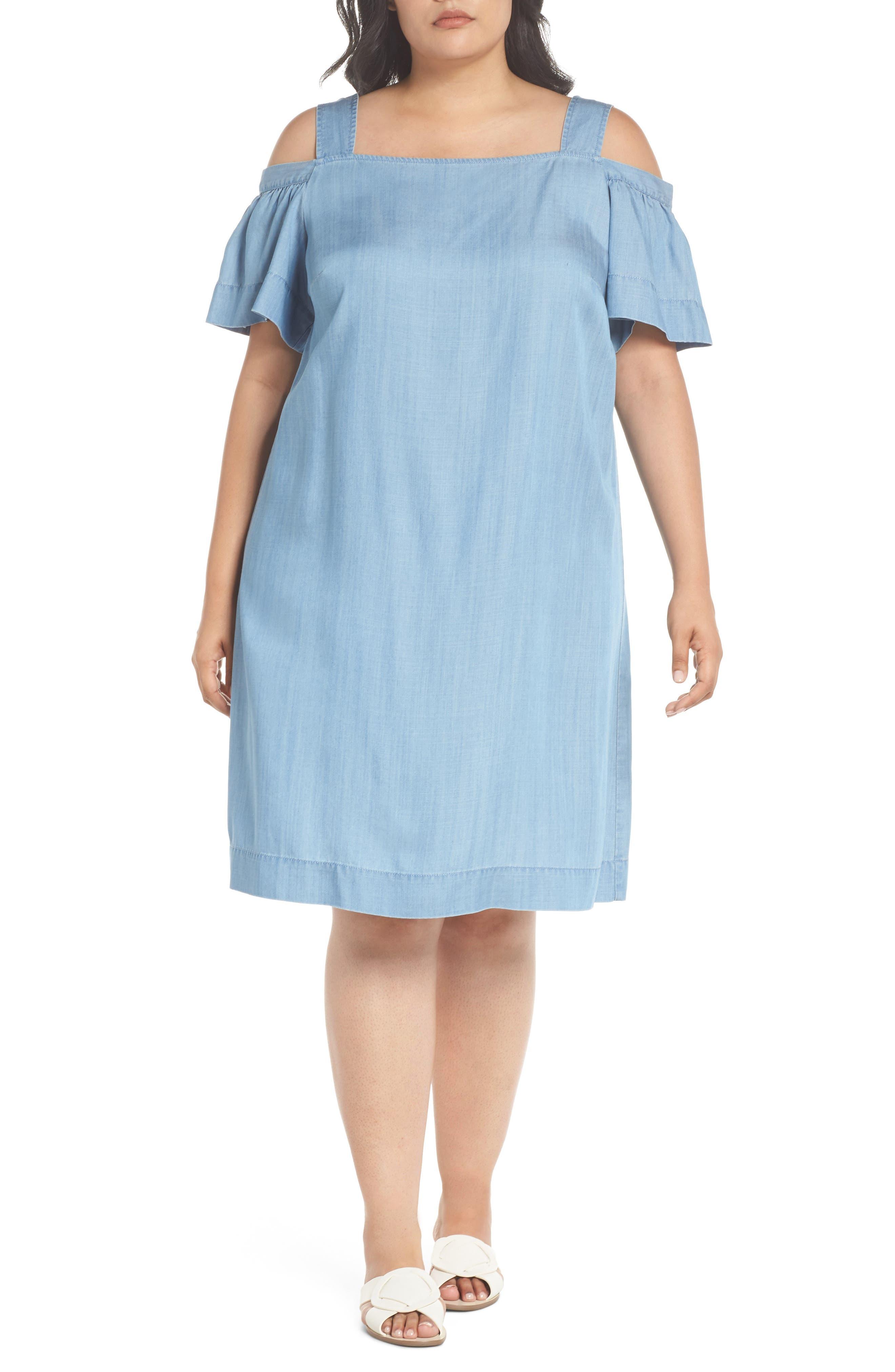 Ruffle Cold Shoulder Chambray Dress,                             Main thumbnail 1, color,                             400
