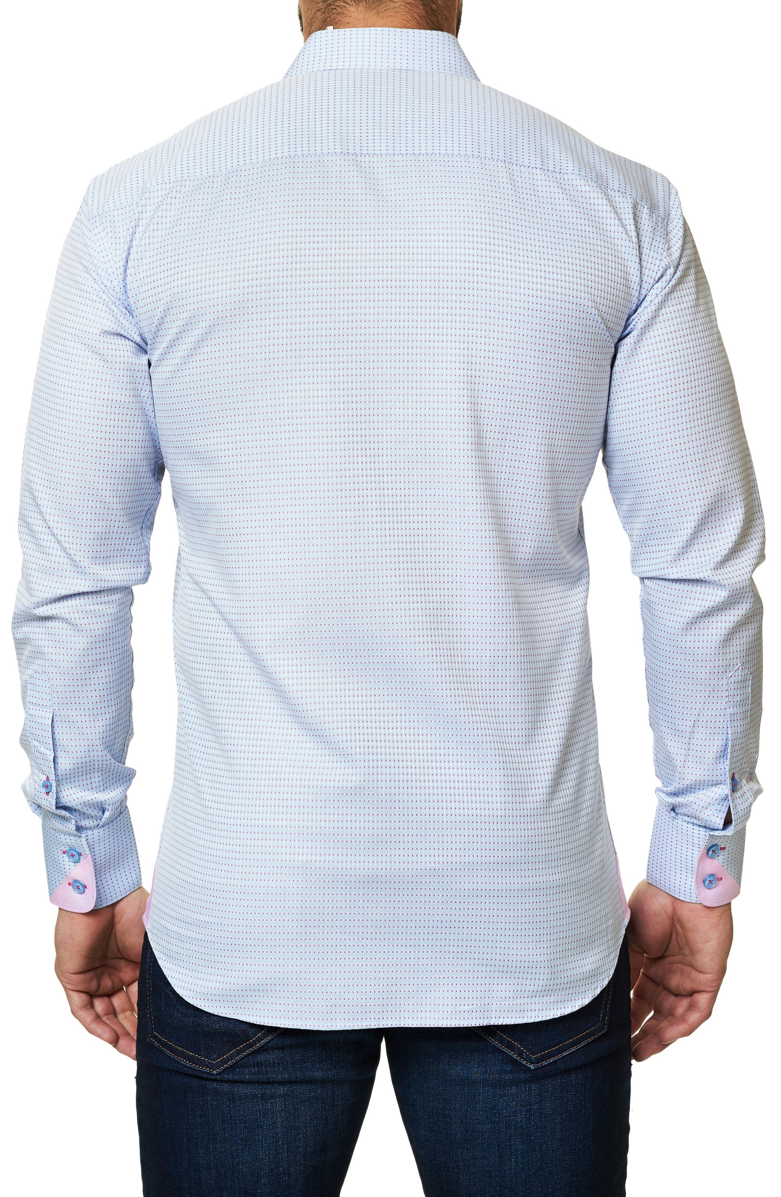 Trim Fit Dot Print Sport Shirt,                             Alternate thumbnail 2, color,                             420