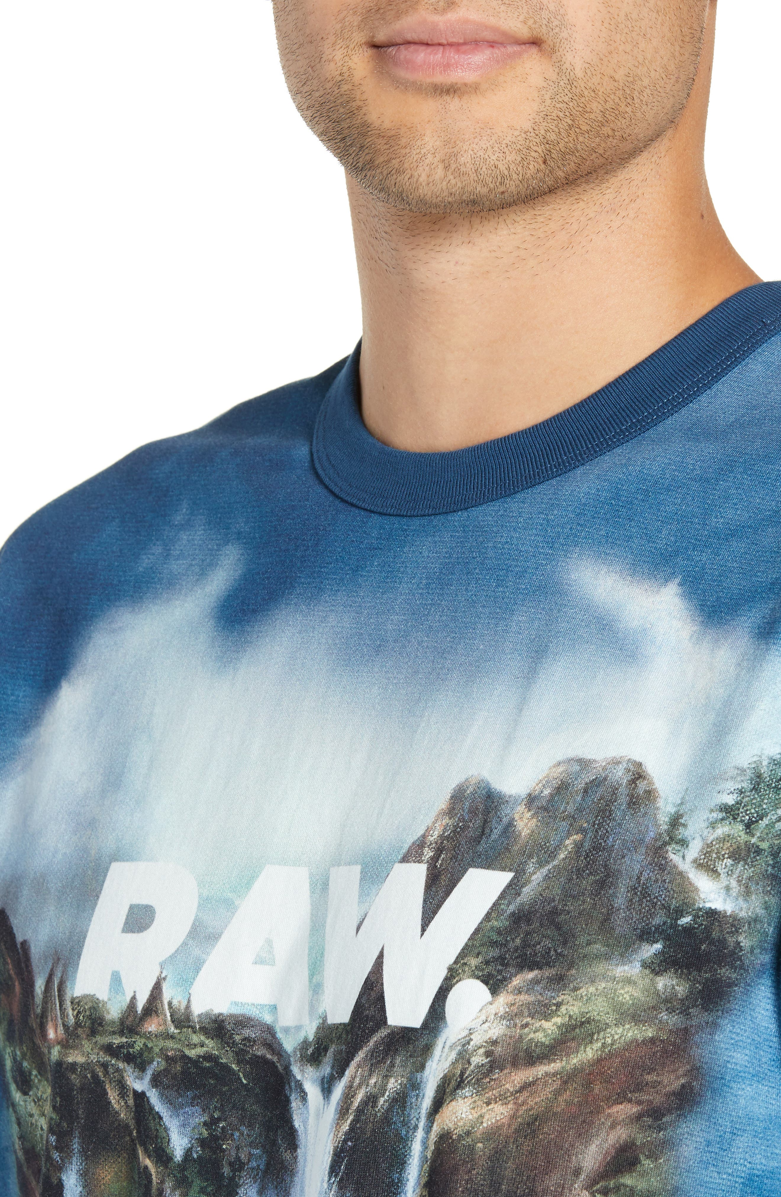 G-Star Cyrer Waterfall Loose T-Shirt,                             Alternate thumbnail 4, color,                             TEAL BLUE