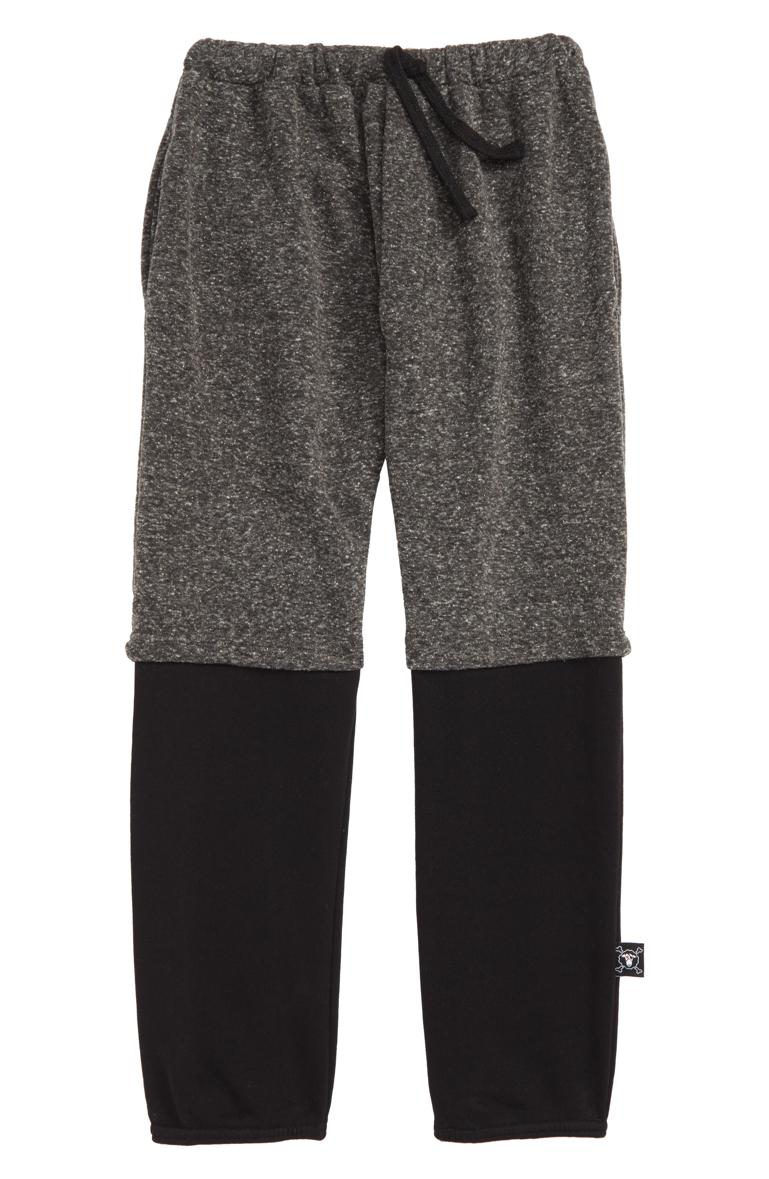 Double Sweatpants,                         Main,                         color, BLACK/ CHARCOAL