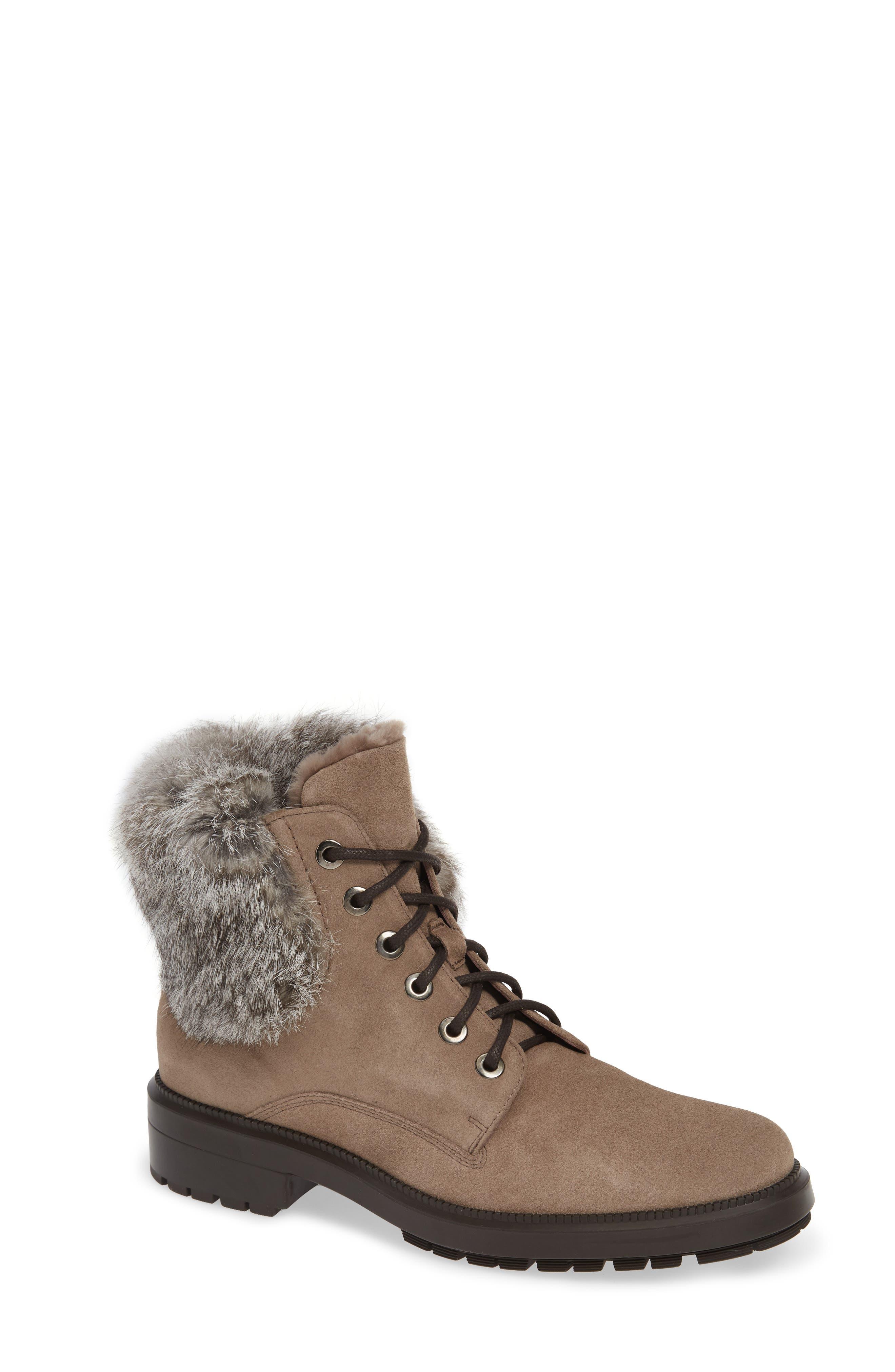 Aquatalia Lacy Genuine Shearling Lined Boot With Genuine Rabbit Fur Trim, Beige