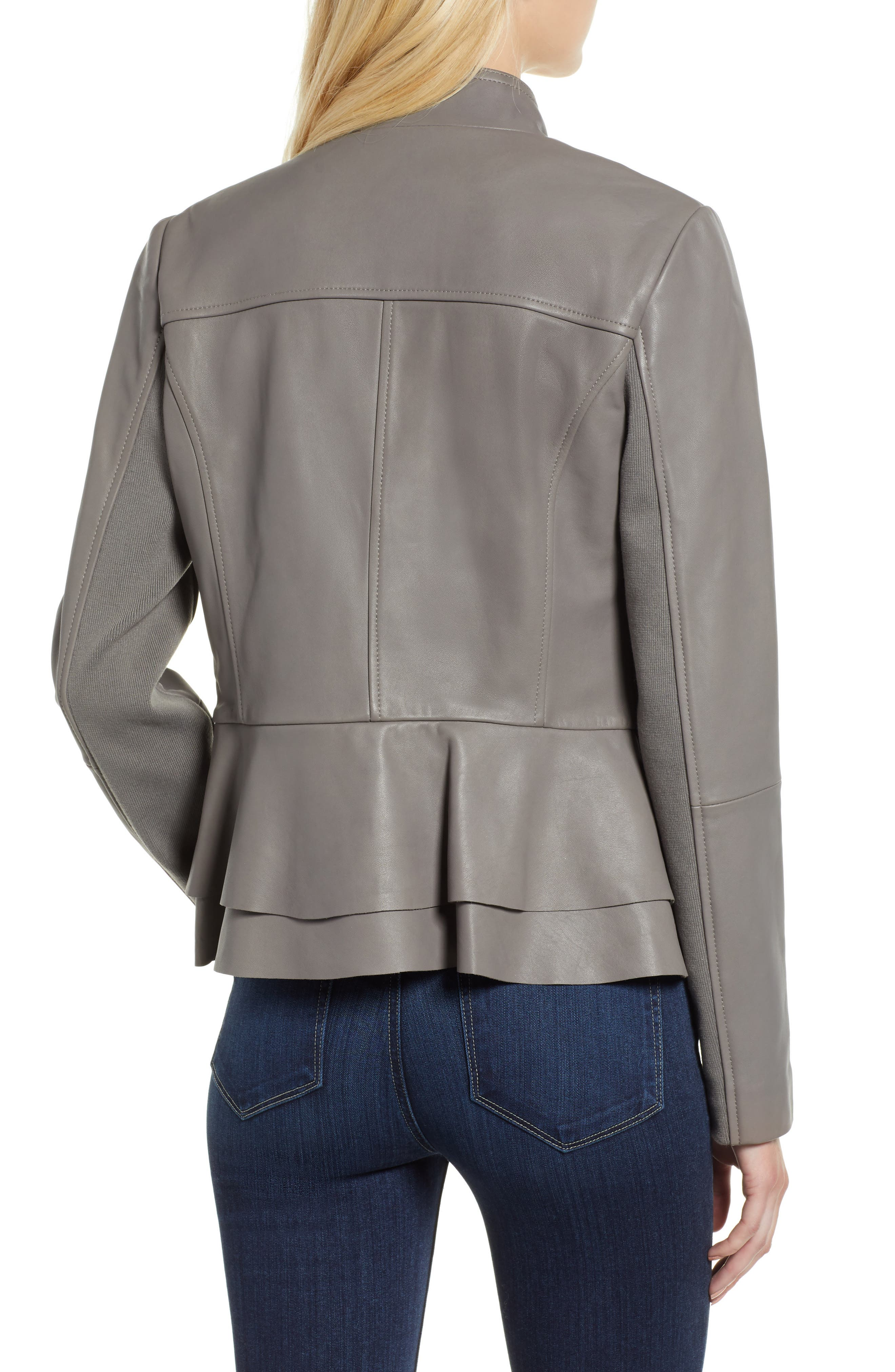Thea Peplum Hem Leather Jacket,                             Alternate thumbnail 2, color,                             020
