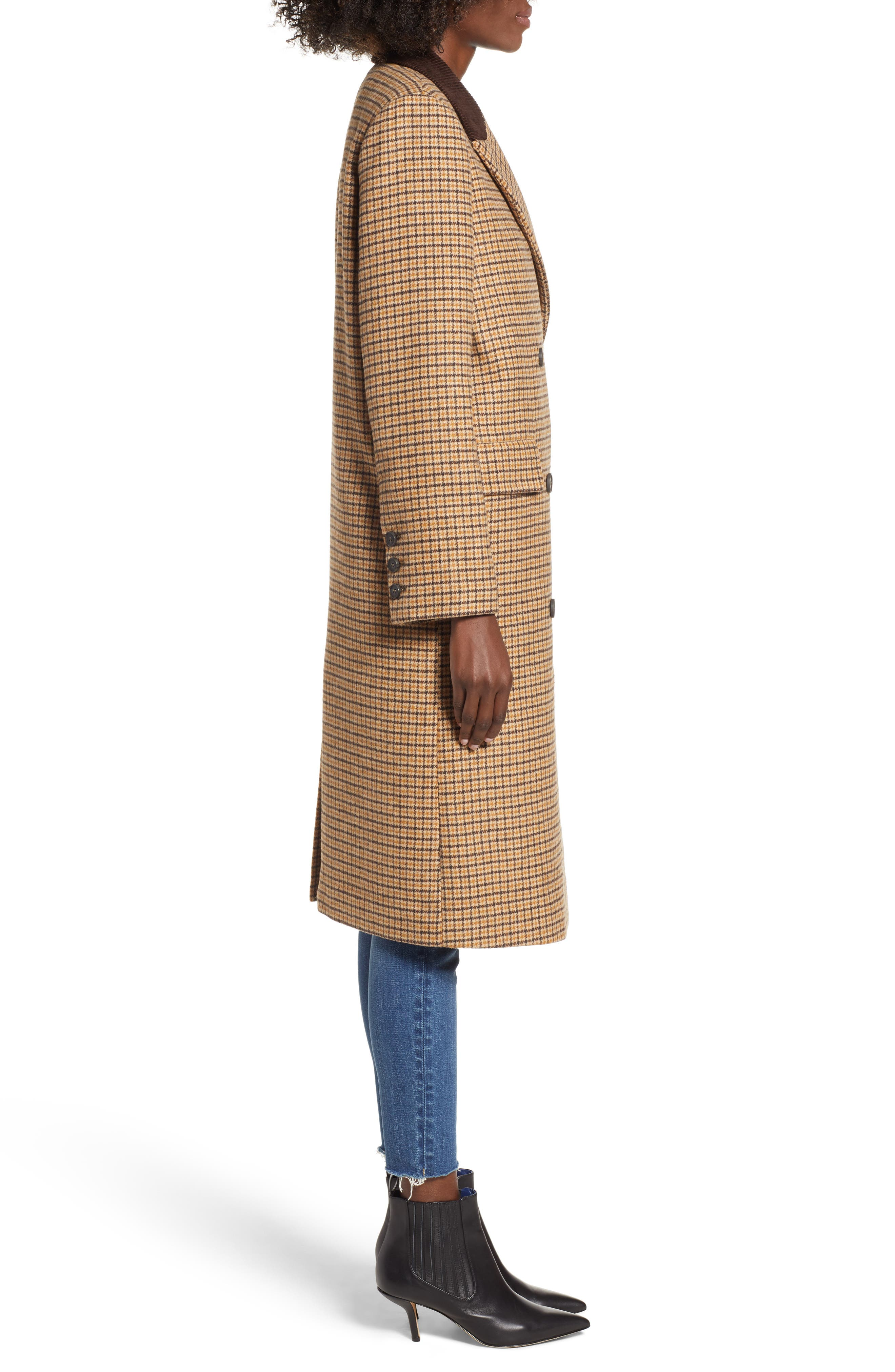 MOON RIVER,                             Houndstooth Double Breasted COat,                             Alternate thumbnail 3, color,                             BROWN PLAID