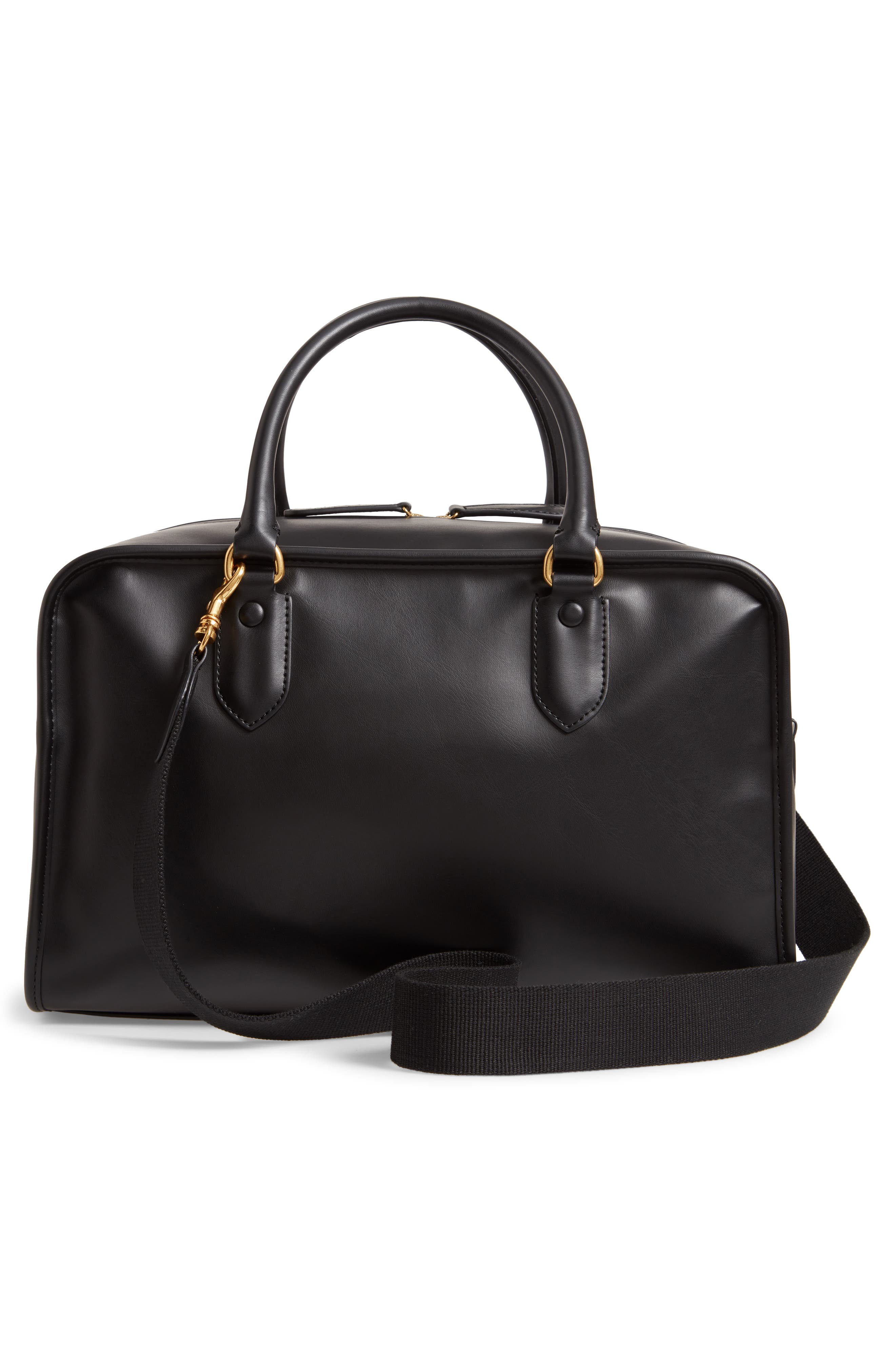 Sac Sylvie Faux Leather Satchel,                             Alternate thumbnail 3, color,                             NOIR