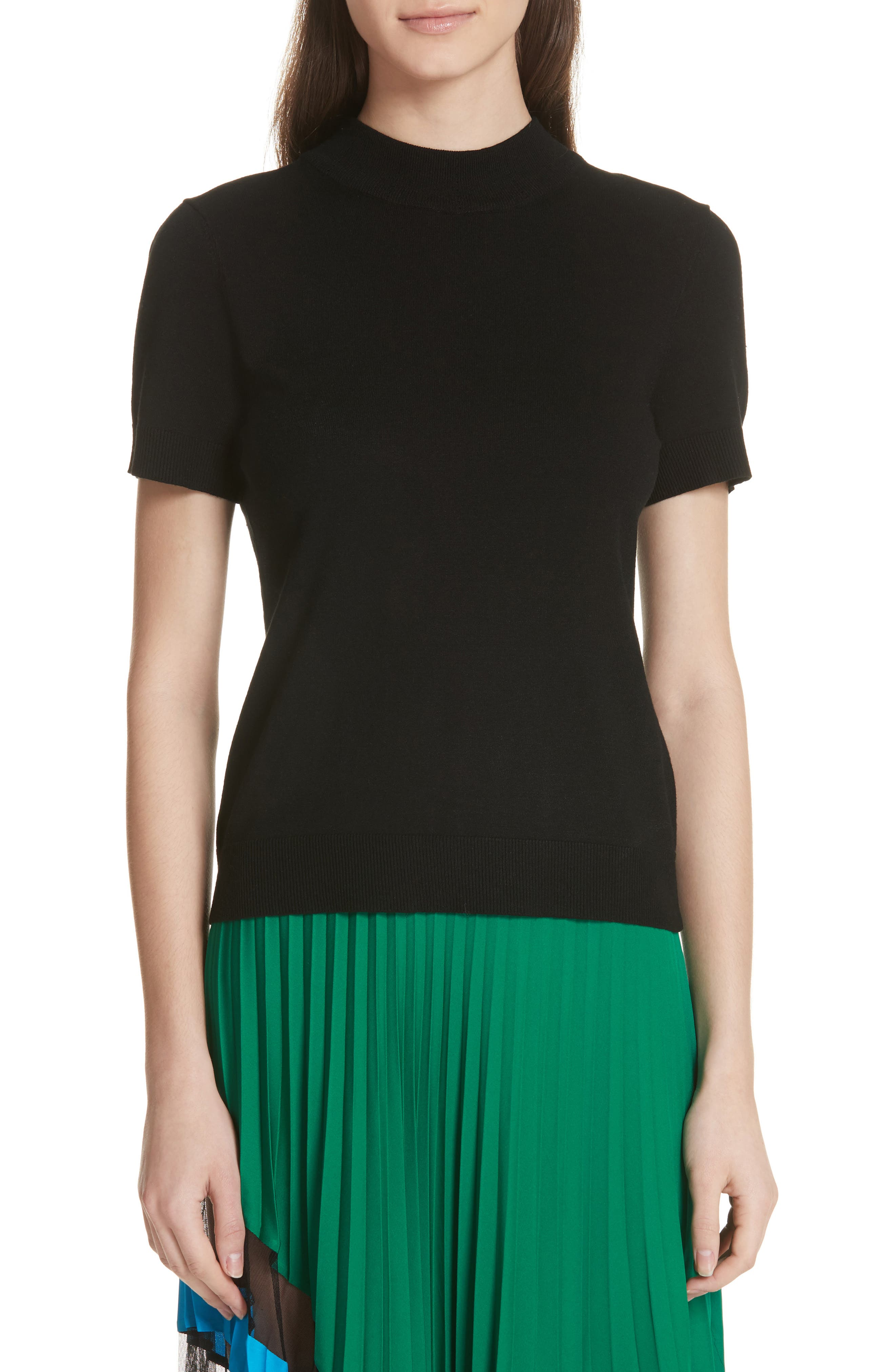 MILLY,                             Mock Neck Tee,                             Main thumbnail 1, color,                             001