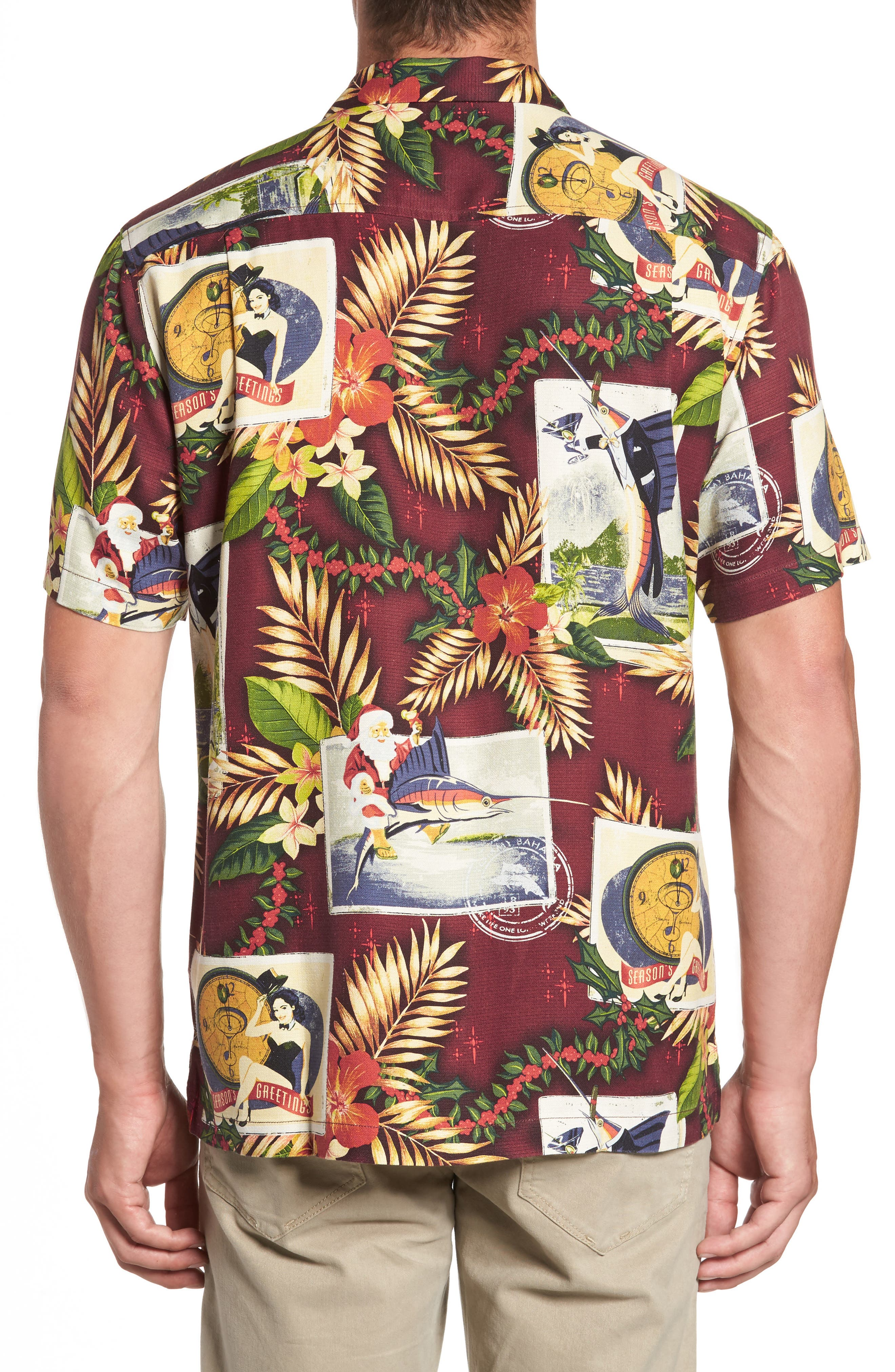 Tommy Holidays Silk Woven Shirt,                             Alternate thumbnail 4, color,
