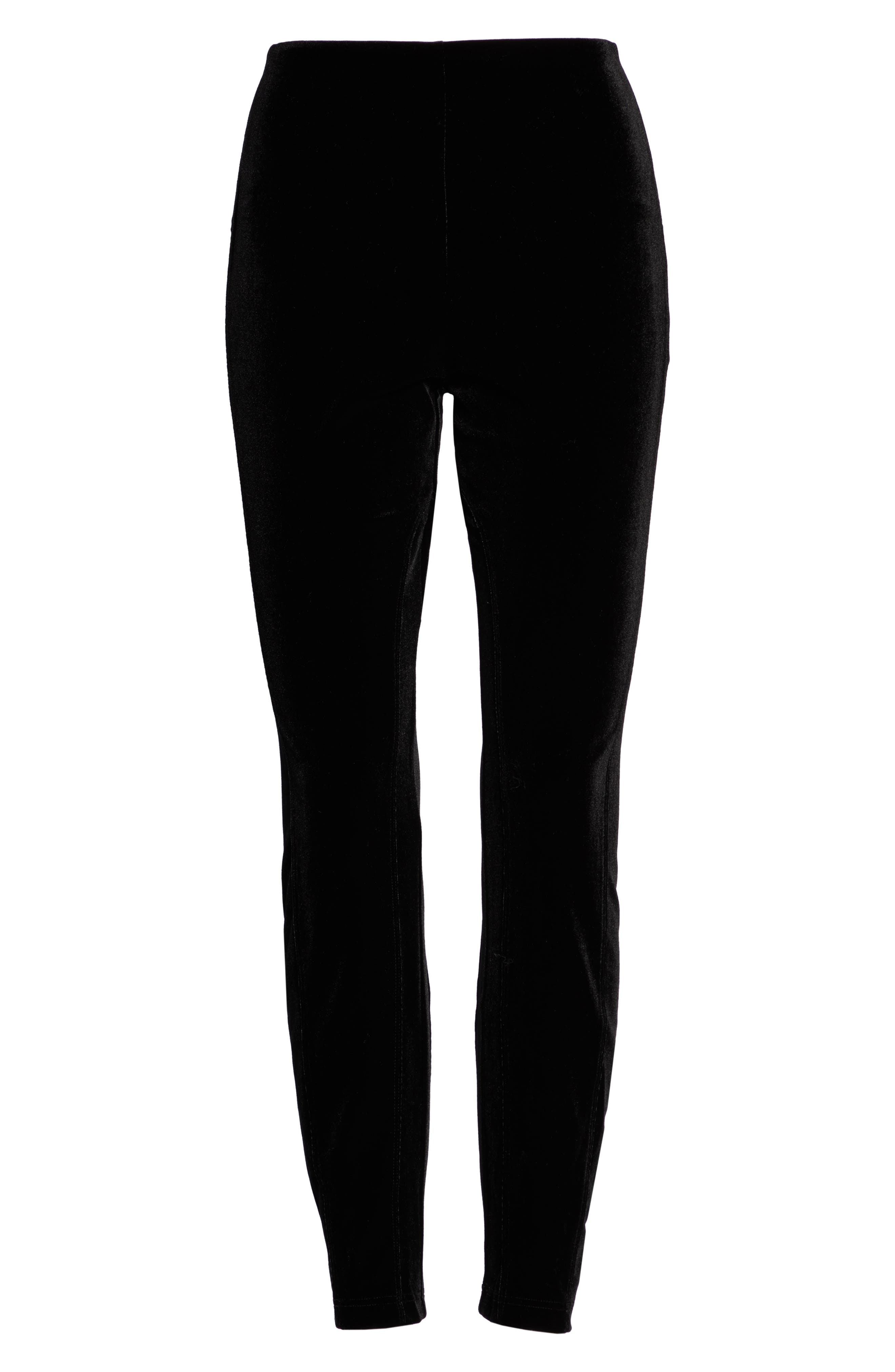 Mara Velvet Leggings,                             Alternate thumbnail 2, color,                             BLACK