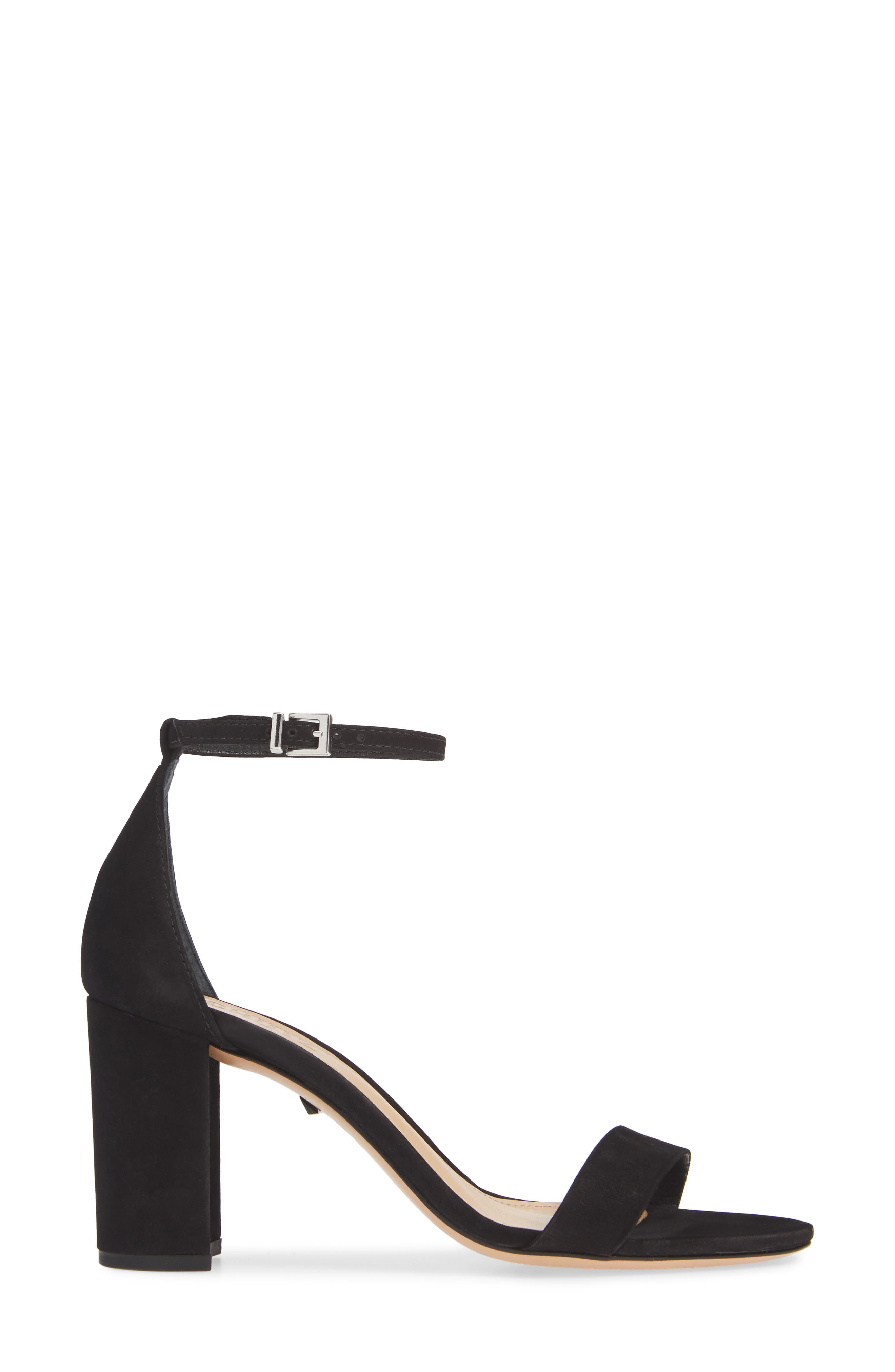 Anna Lee Ankle Strap Sandal,                             Alternate thumbnail 3, color,                             BLACK NUBUCK LEATHER