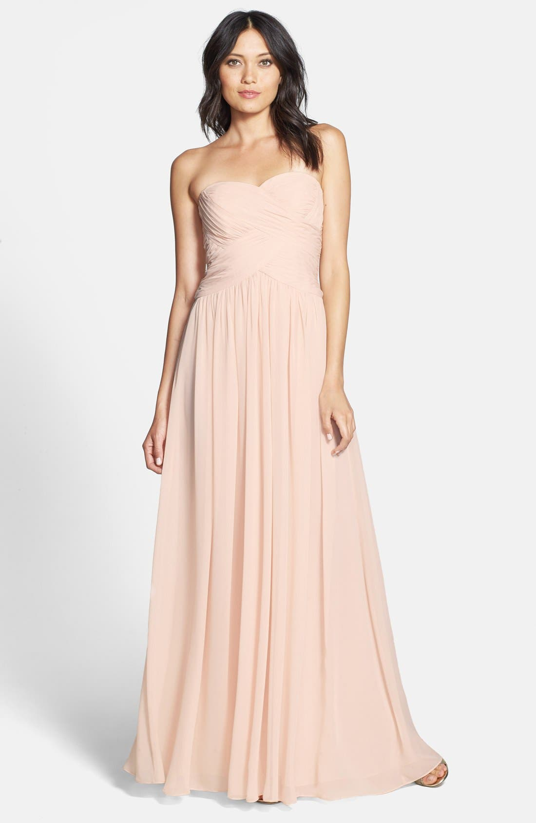 Strapless Ruched Chiffon Gown,                             Main thumbnail 9, color,