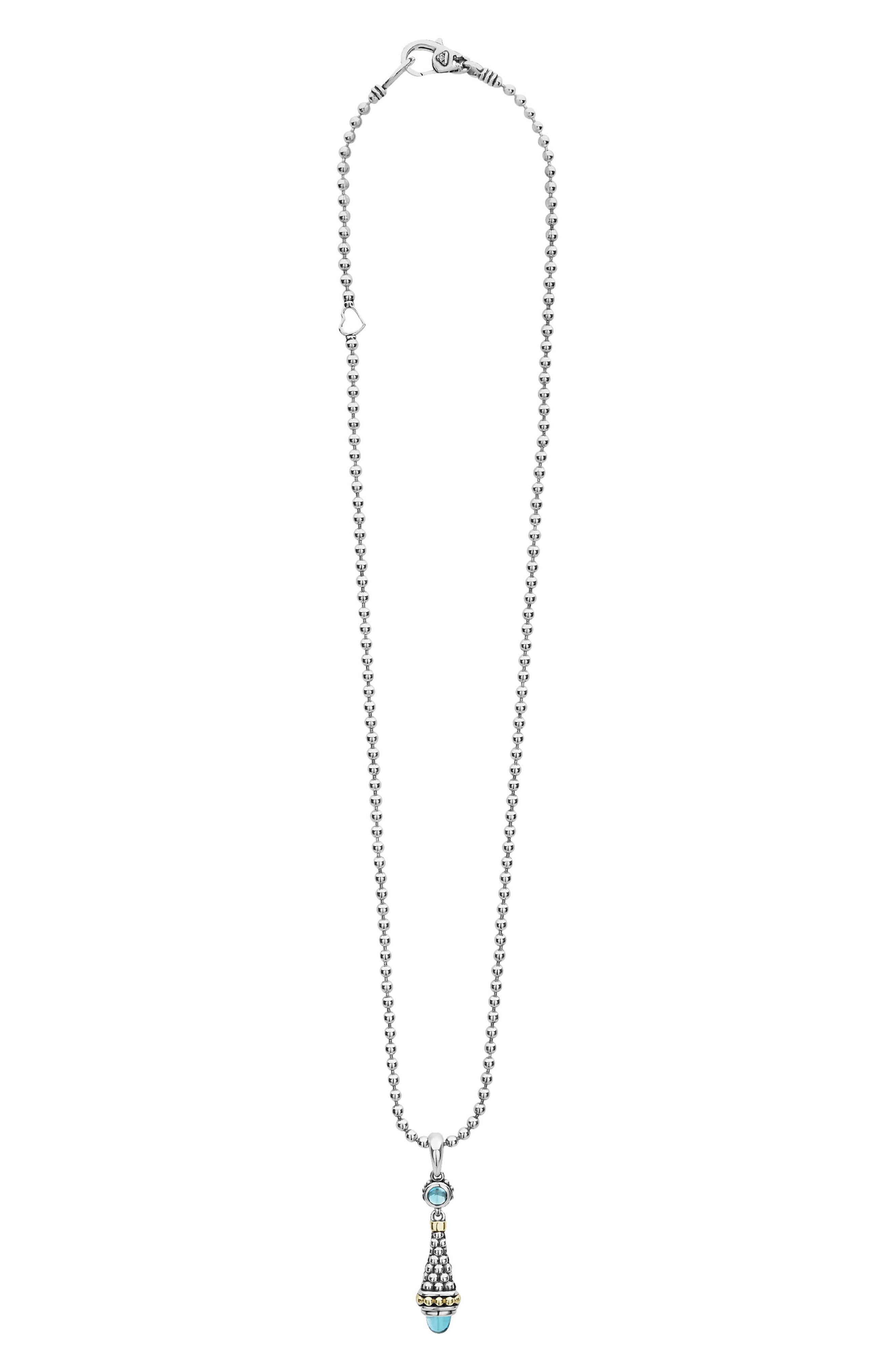 Signature Caviar & Blue Topaz Bullet Pendant Necklace,                             Main thumbnail 1, color,                             SILVER/ BLUE TOPAZ