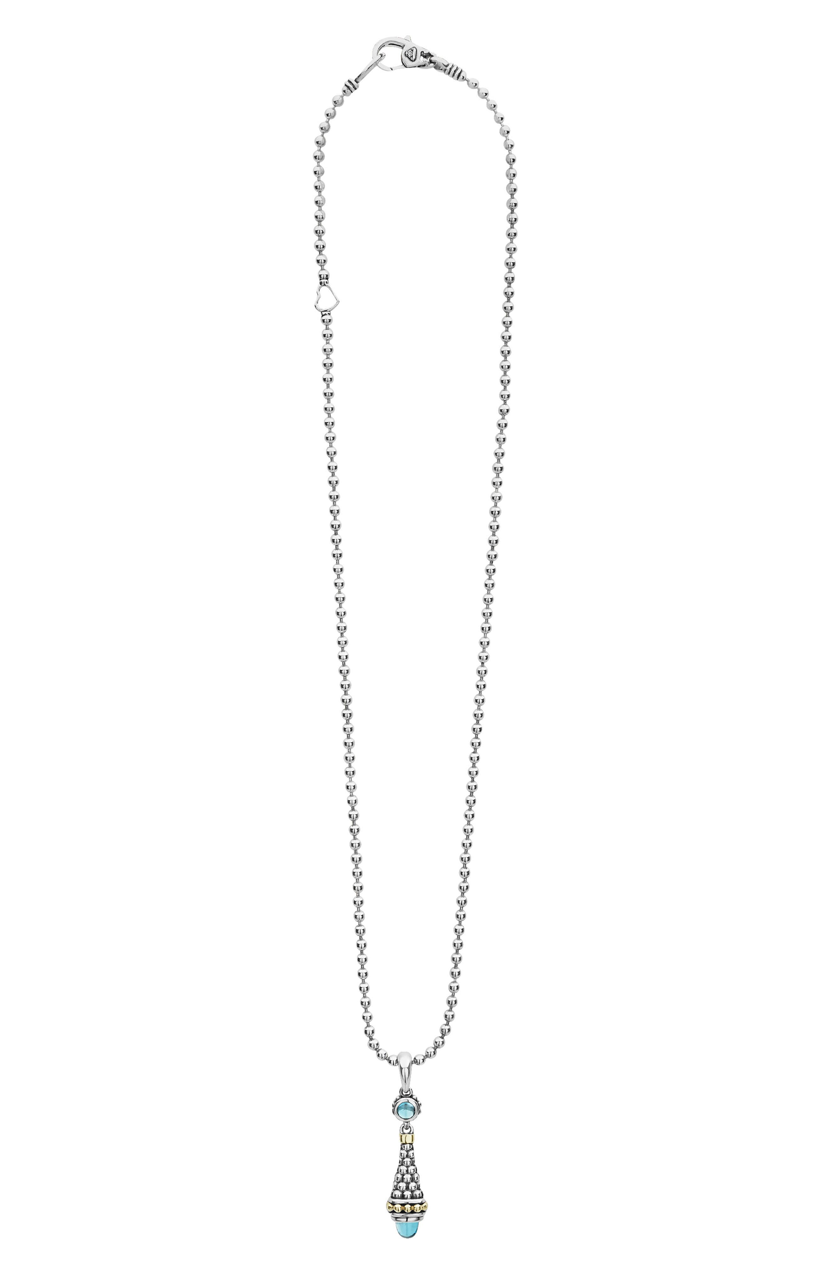 Signature Caviar & Blue Topaz Bullet Pendant Necklace, Main, color, SILVER/ BLUE TOPAZ