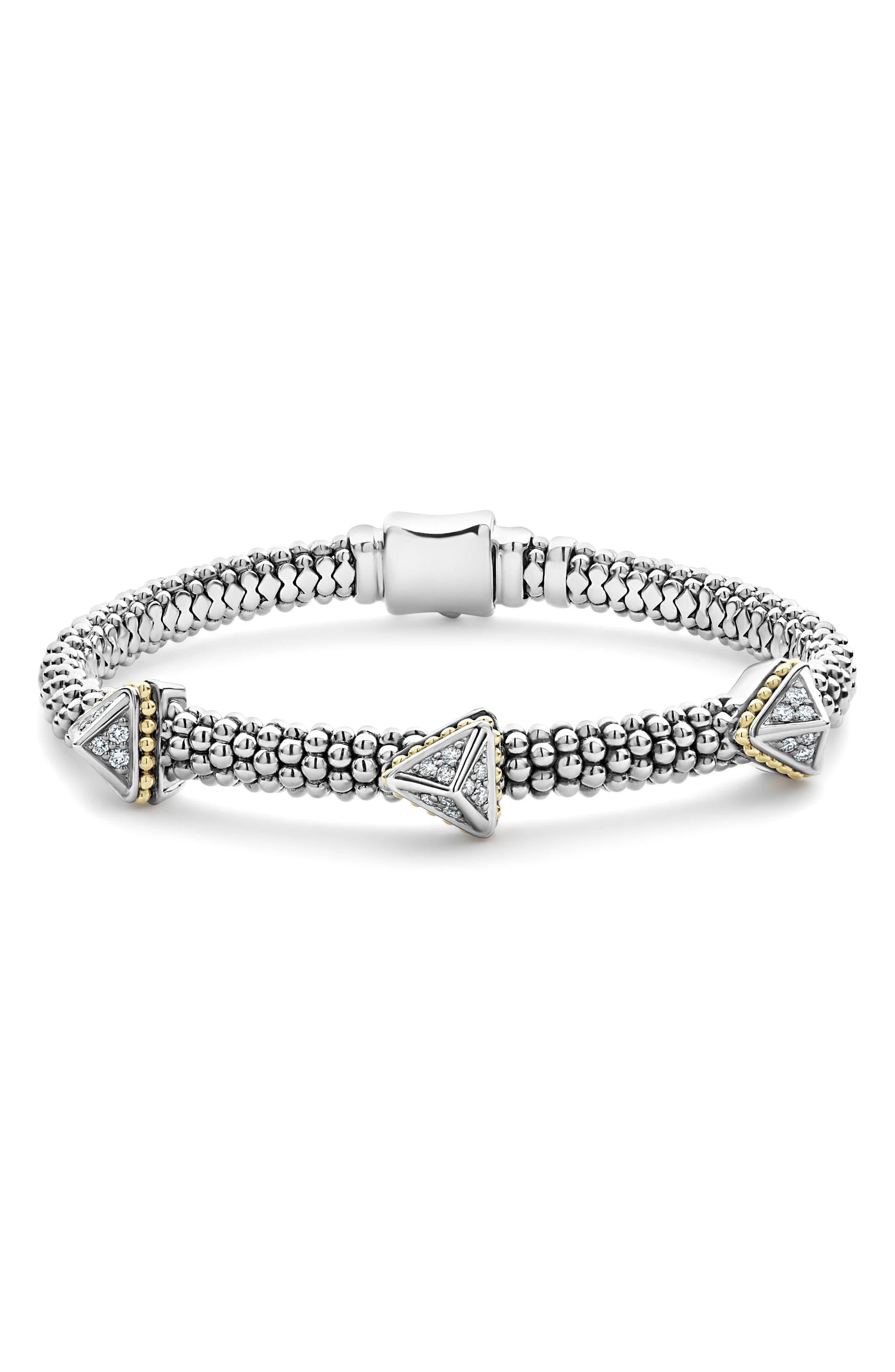 KSL Lux Diamond Pyramid Bracelet,                             Main thumbnail 1, color,                             SILVER/ DIAMOND
