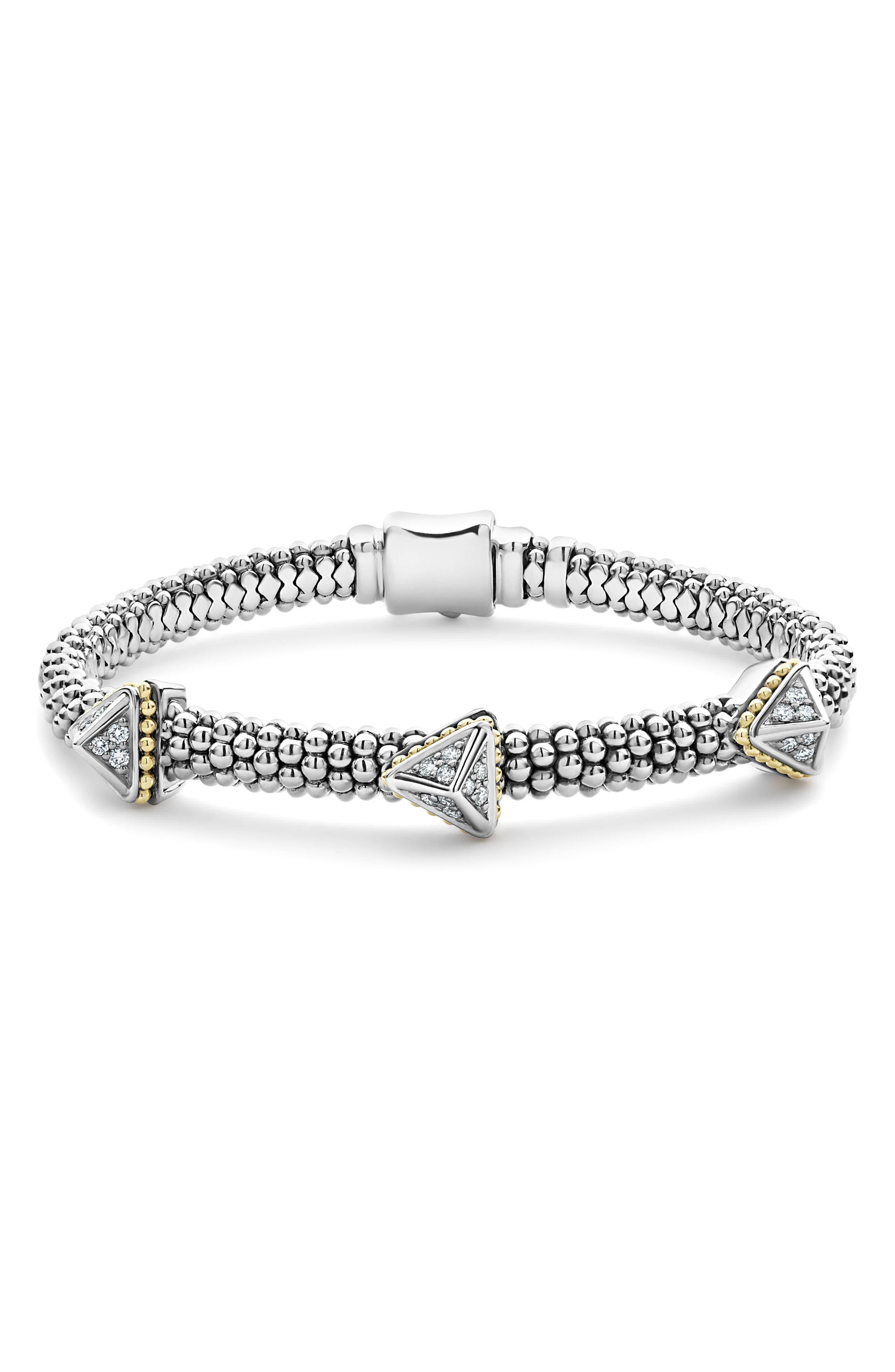 18K Yellow Gold & Sterling Silver Ksl Luxe Diamond Three Pyramid Station Bracelet in Silver/ Diamond