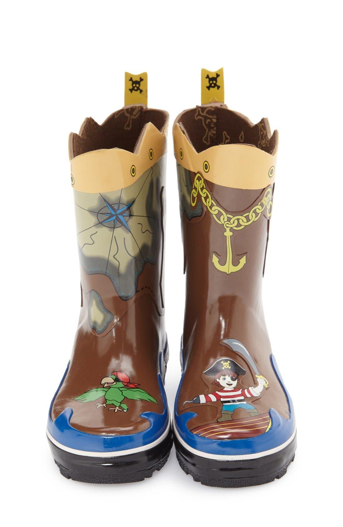 'Pirate' Waterproof Rain Boot,                             Alternate thumbnail 3, color,                             200