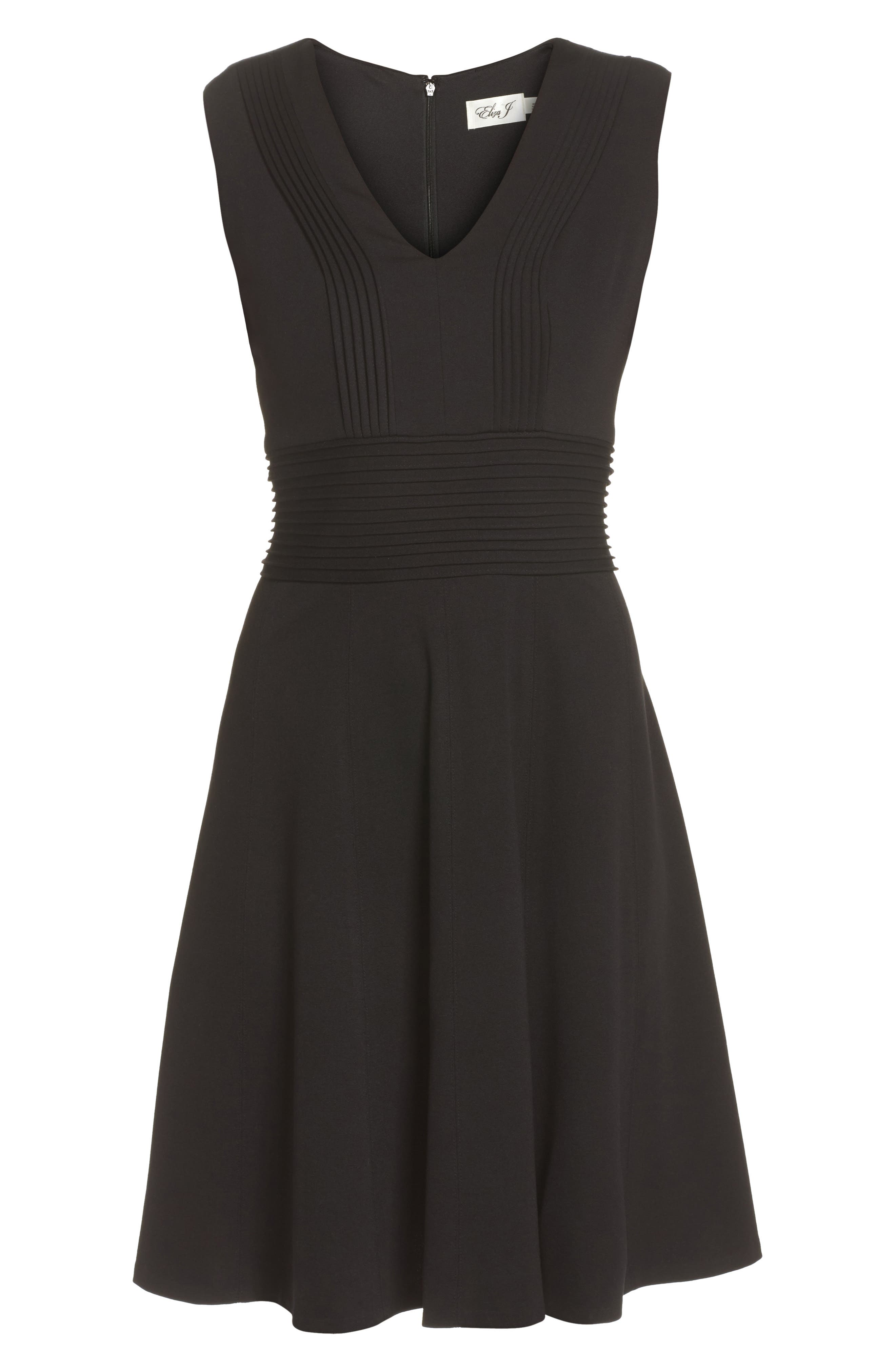 Pintuck Fit & Flare Dress,                             Alternate thumbnail 6, color,                             001