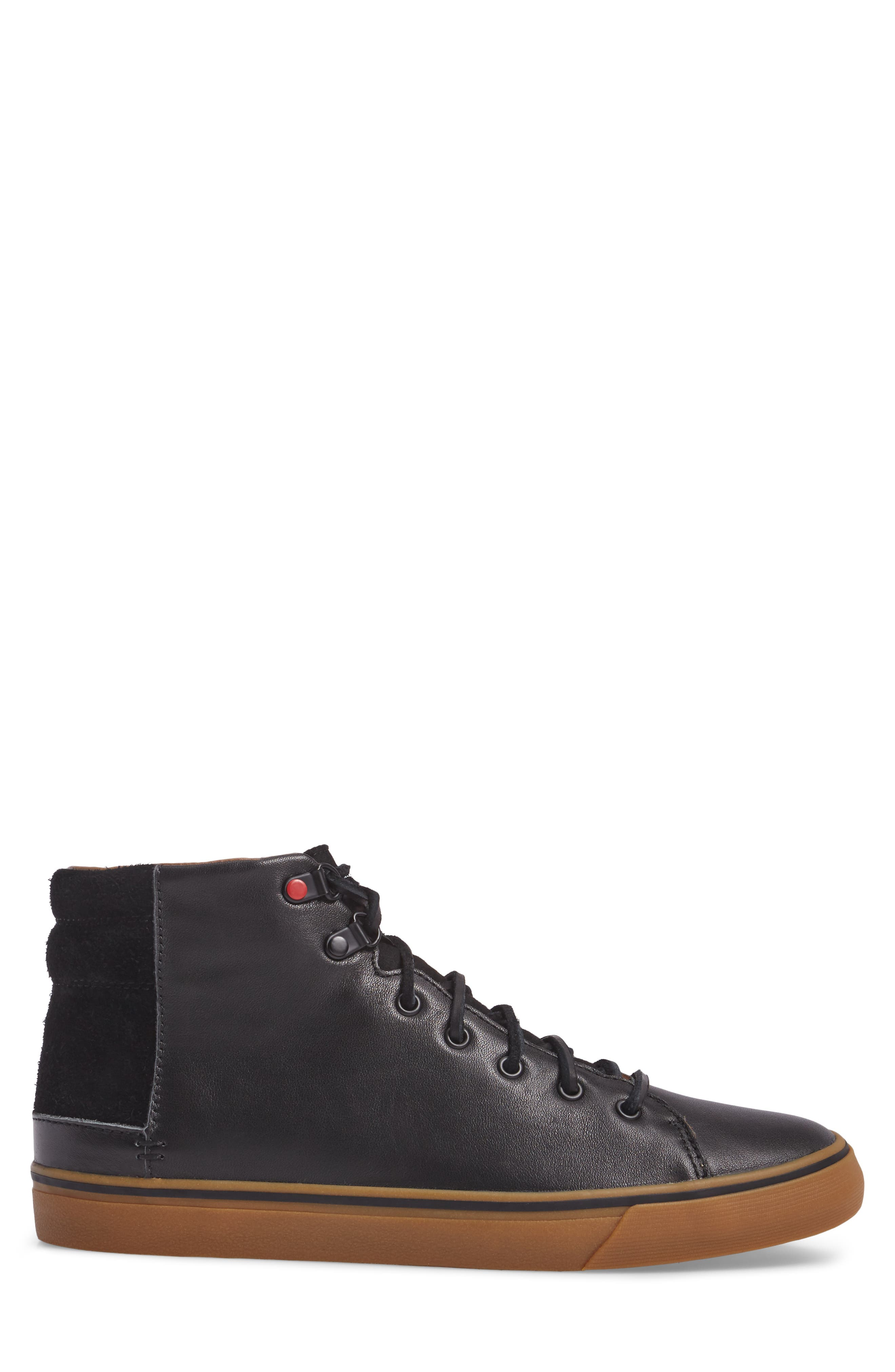 Hoyt Luxe Genuine Shearling High Top Sneaker,                             Alternate thumbnail 3, color,                             001