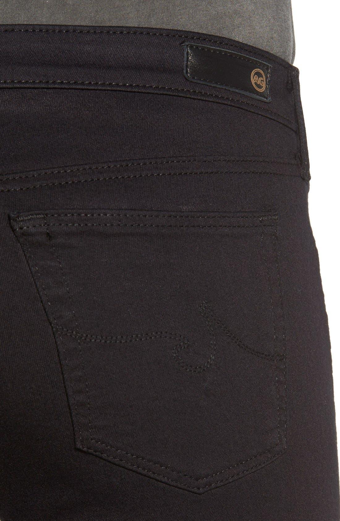 'The Legging' Ankle Super Skinny Jeans,                             Alternate thumbnail 4, color,                             SUPER BLACK