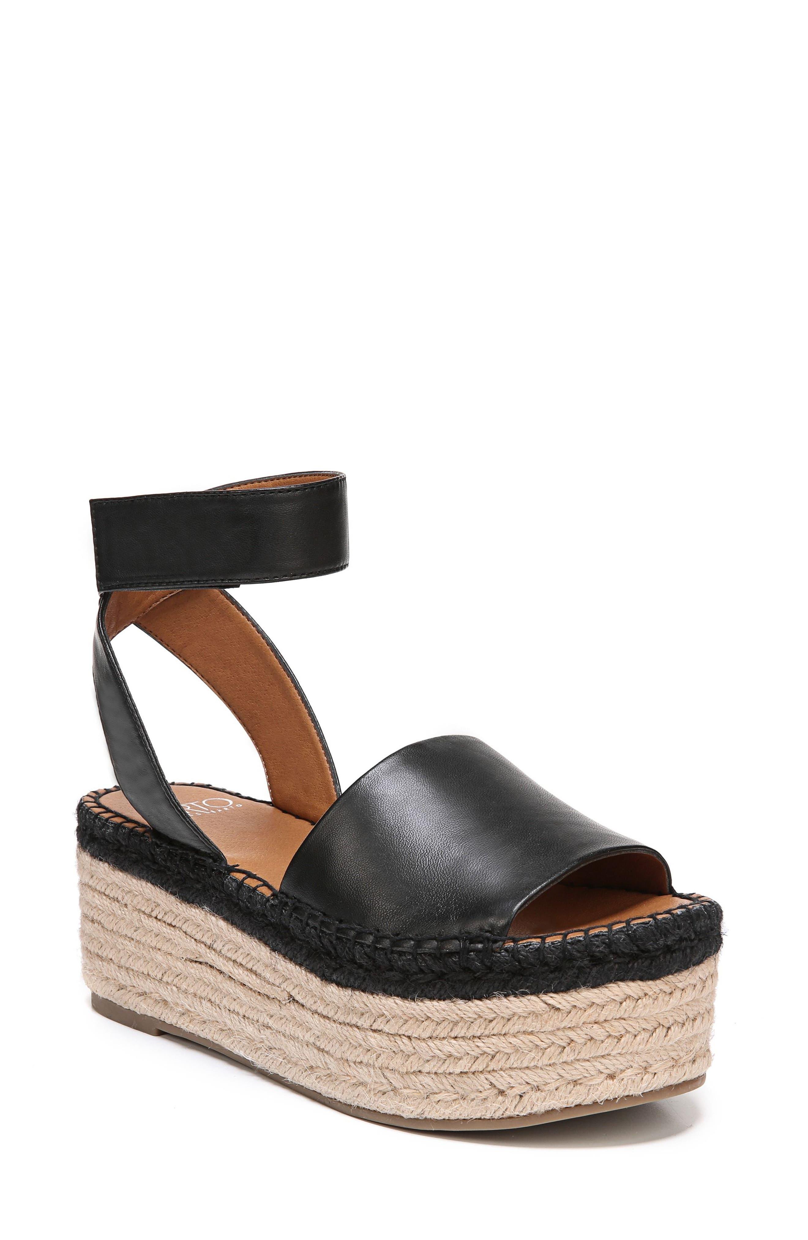 Maisi Platform Espadrille Sandal,                             Main thumbnail 1, color,                             BLACK LEATHER