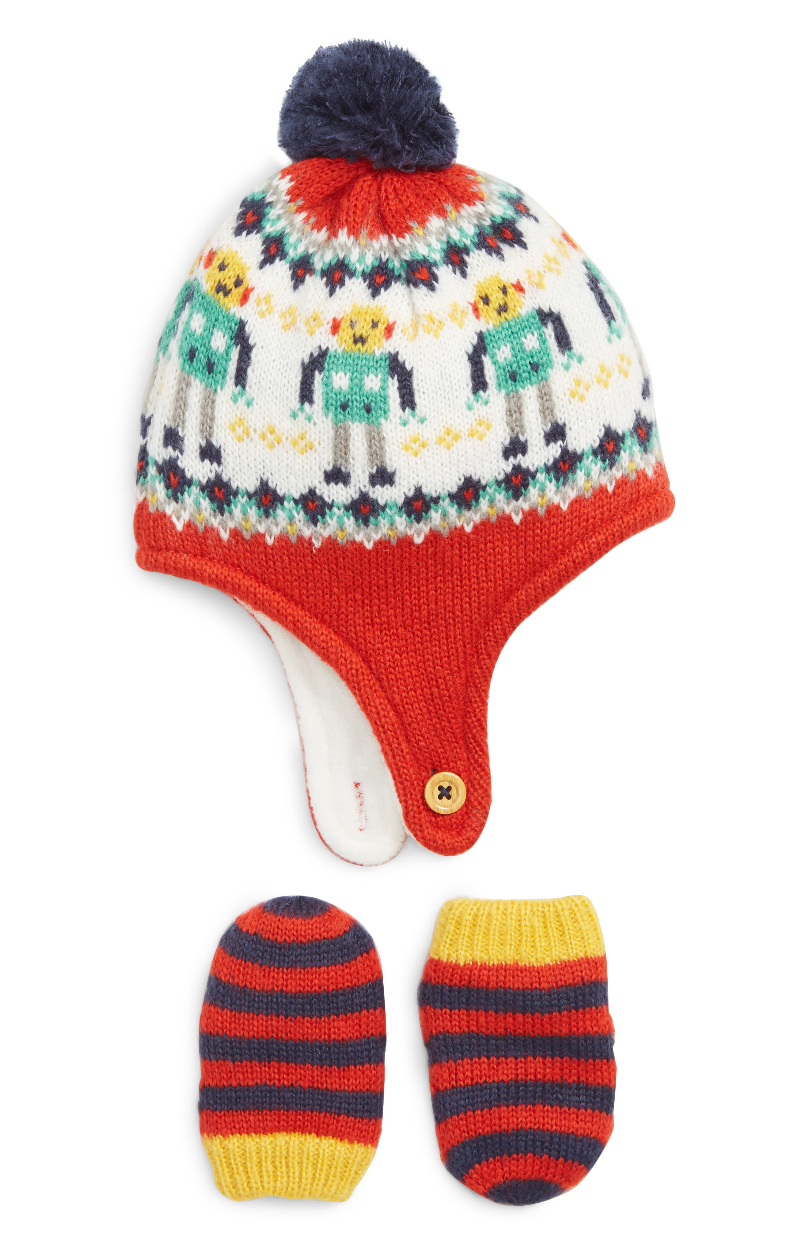 Mini Boden Knit Hat & Mittens Set,                         Main,                         color, RED POST/ BOX RED