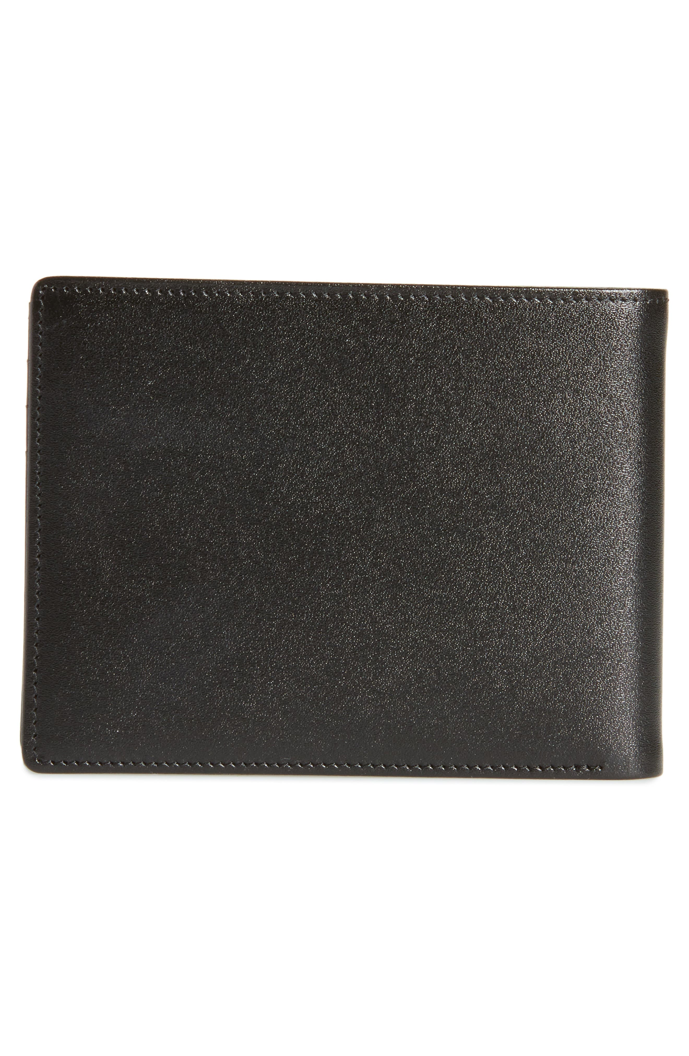 Bifold Leather Wallet,                             Alternate thumbnail 3, color,                             001