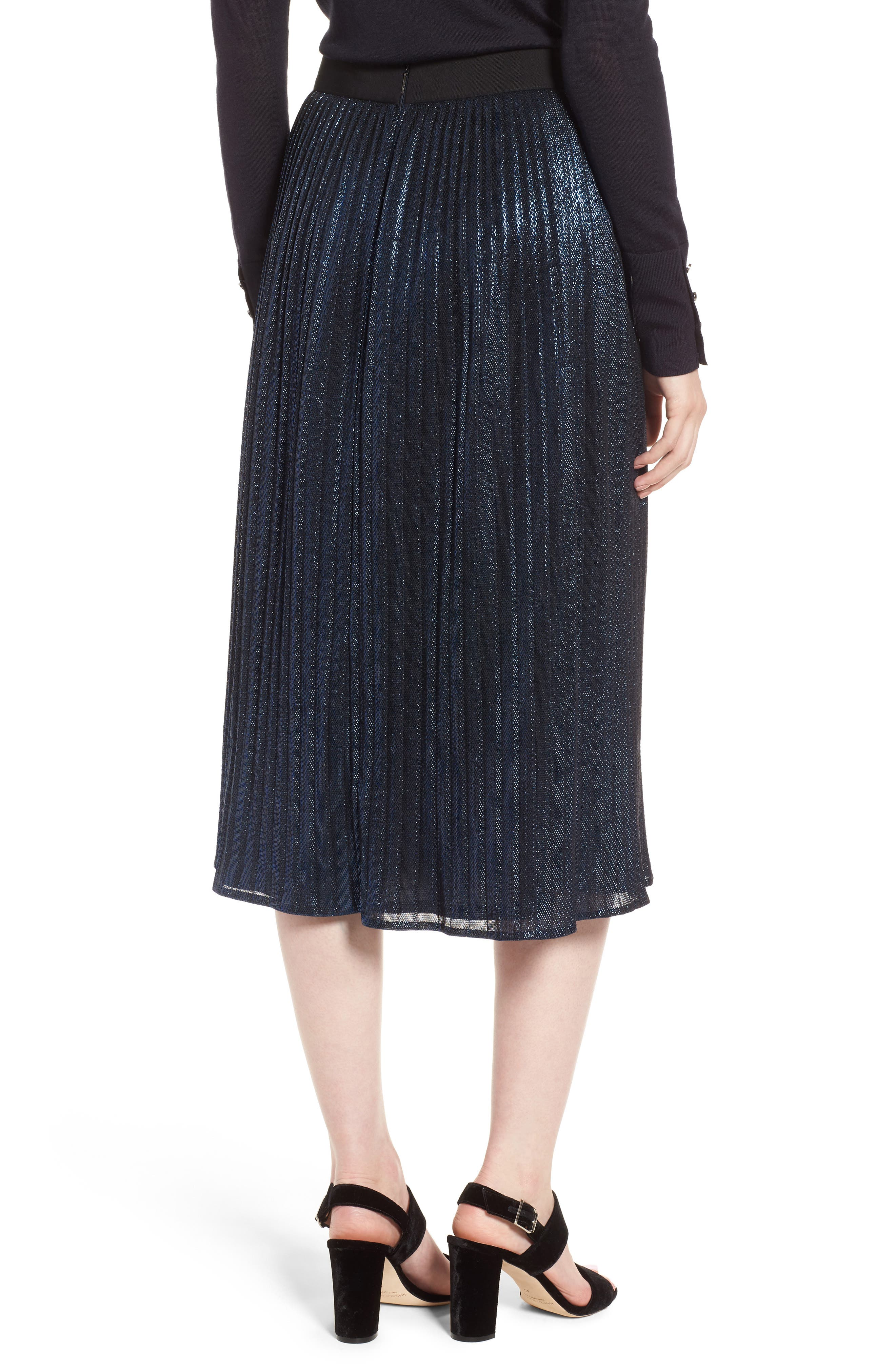 Miplisa Metallic Pleated Midi Skirt,                             Alternate thumbnail 2, color,                             480