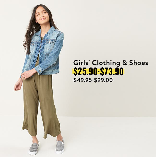 Get big deals on back to school with girls' clothing and shoes.