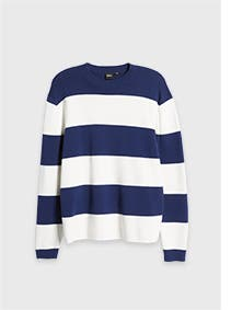 Navy blue and white striped sweater.