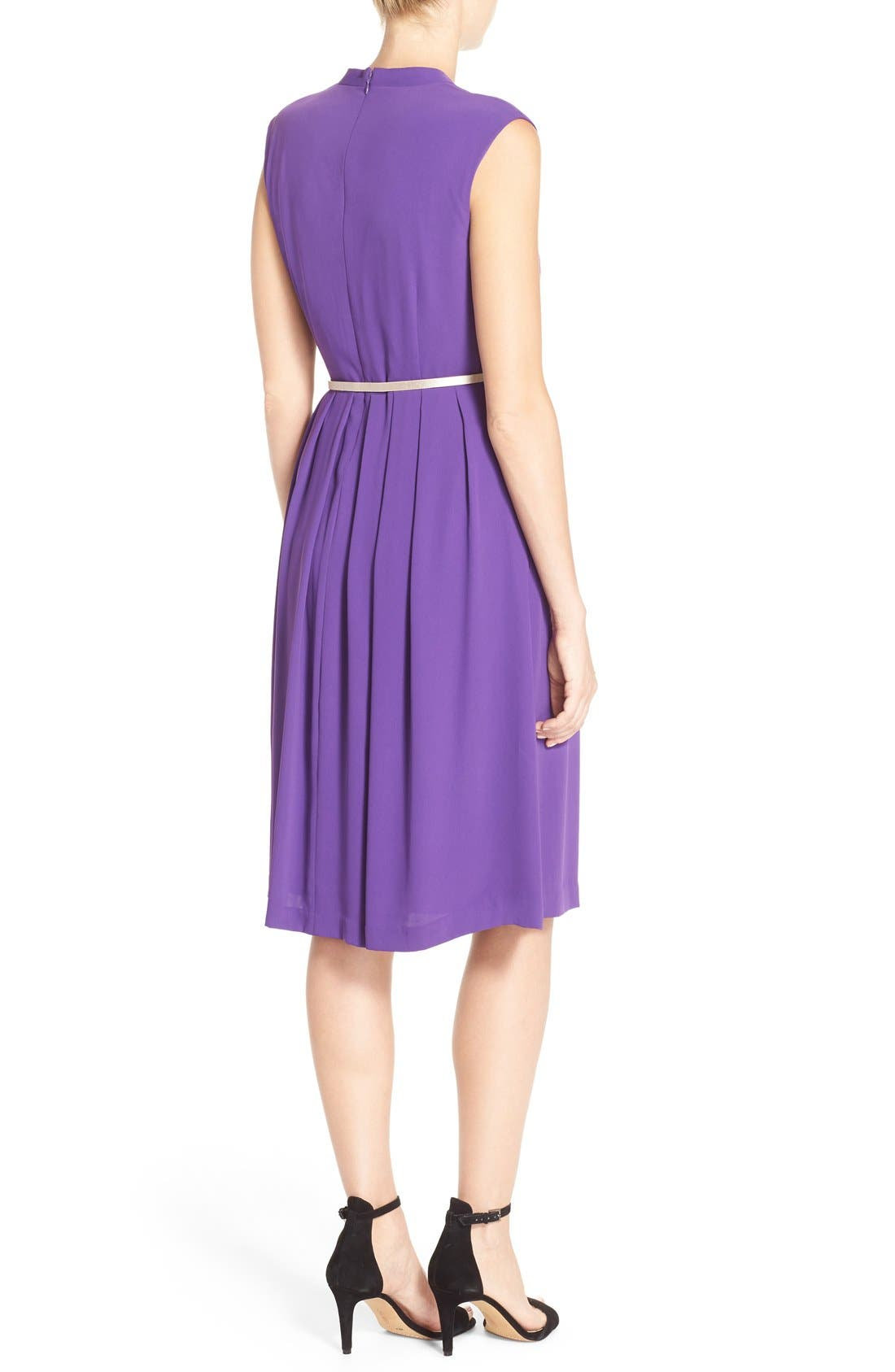 Belted Woven Fit & Flare Dress,                             Alternate thumbnail 5, color,