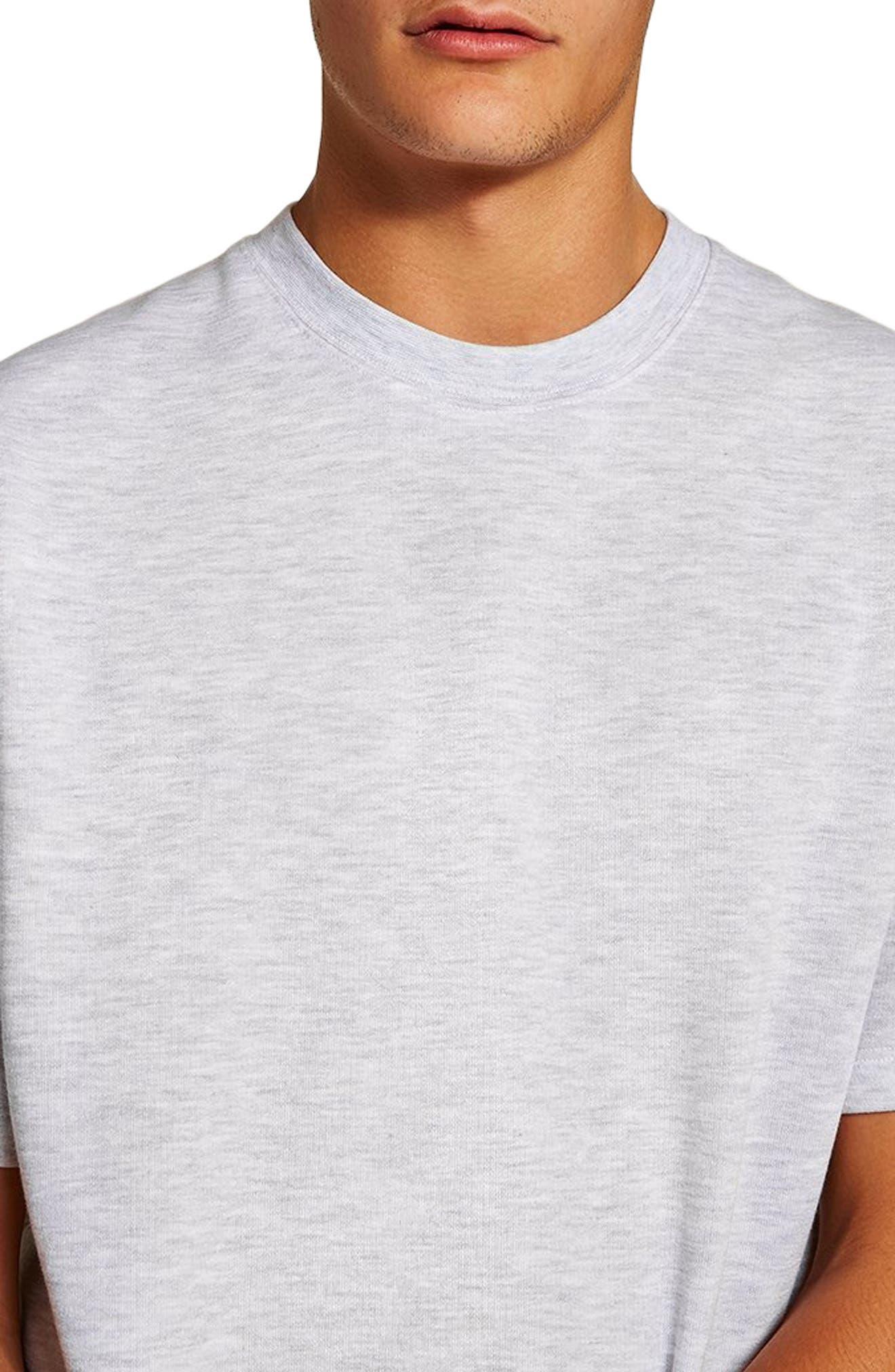 Short Sleeve Crewneck Sweatshirt,                             Alternate thumbnail 3, color,                             LIGHT GREY