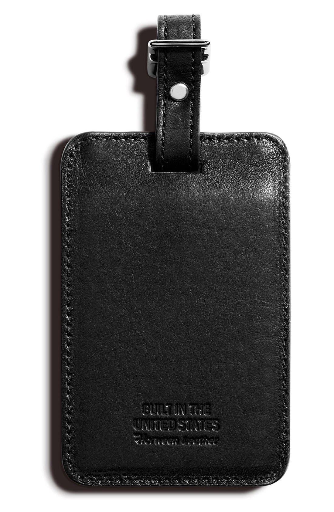 SHINOLA,                             Leather Luggage Tag,                             Alternate thumbnail 2, color,                             001