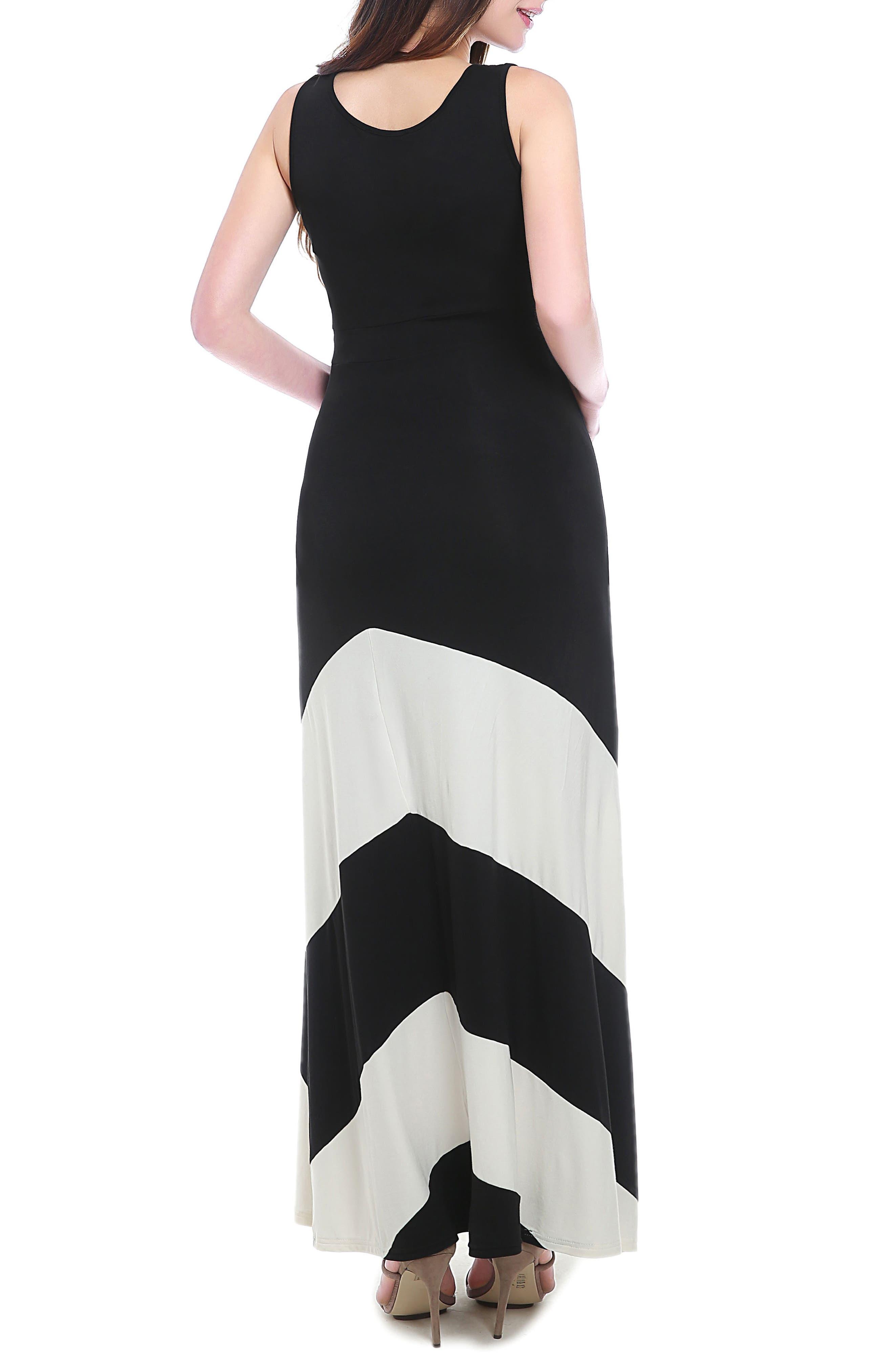 Sally Maternity Maxi Dress,                             Alternate thumbnail 2, color,                             BLACK/ WHITE