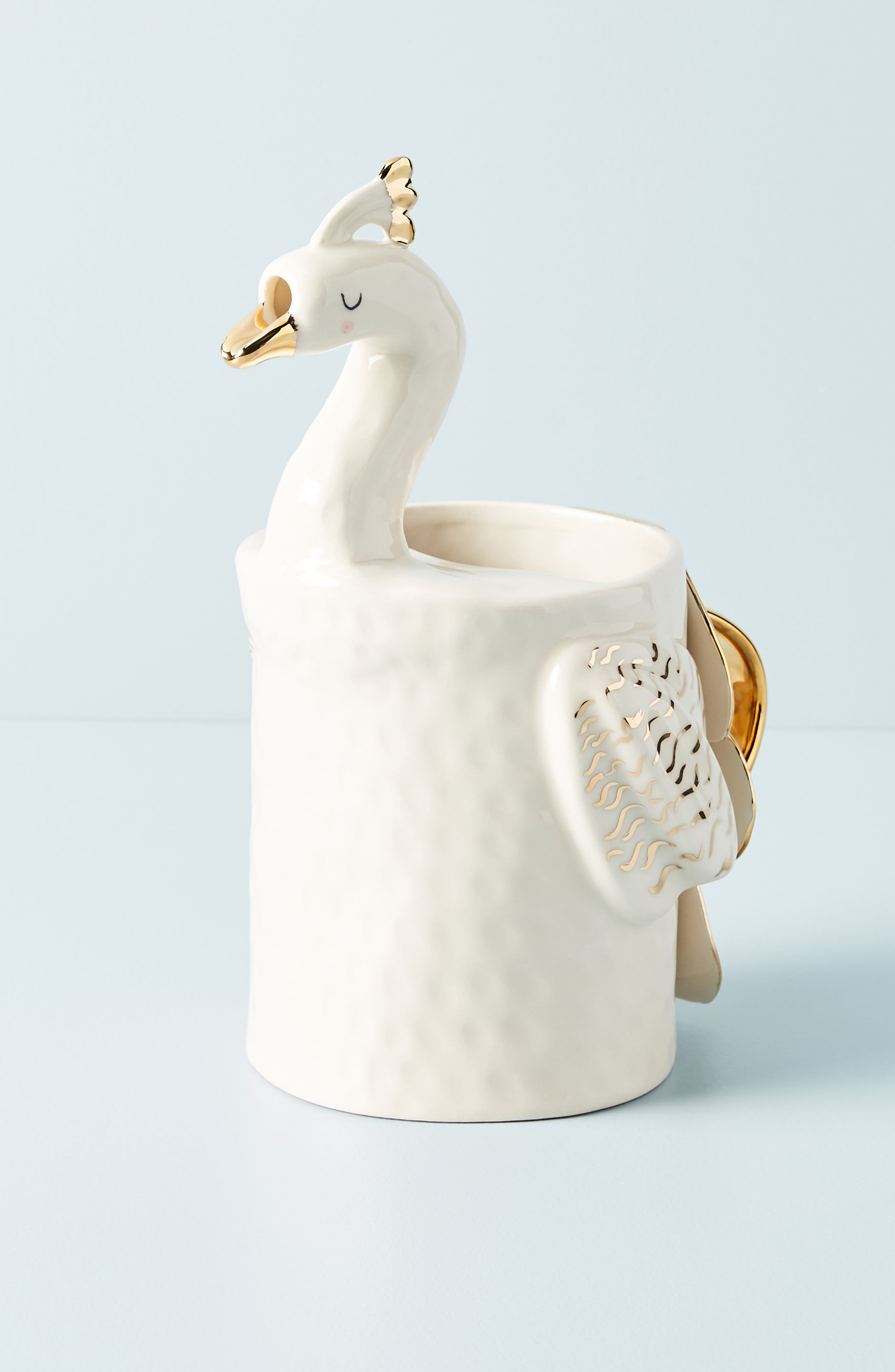 Fauna Fête Peacock Pitcher,                             Main thumbnail 1, color,                             WHITE/ GOLD