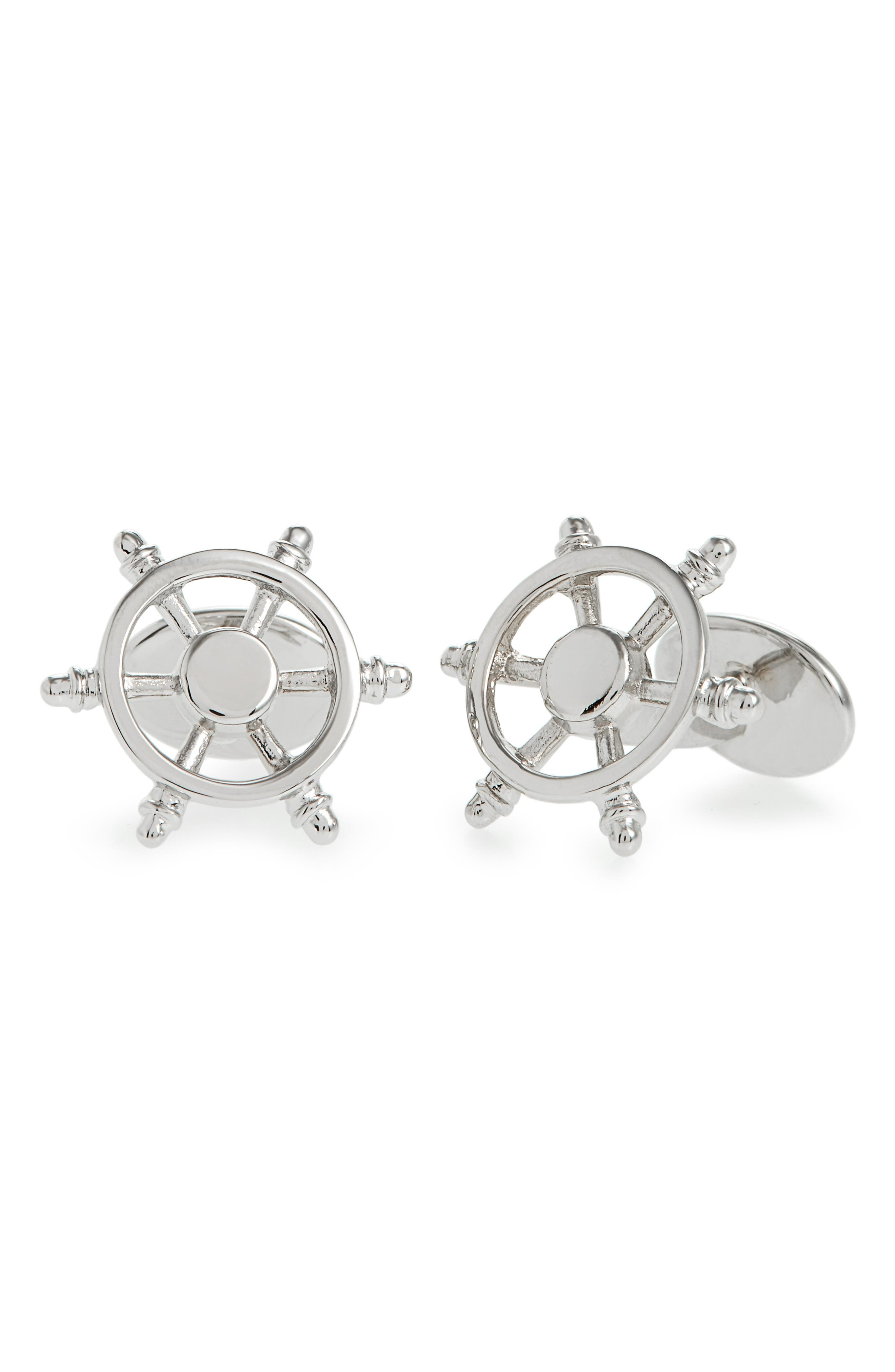 Ship's Wheel Cuff Links,                             Main thumbnail 1, color,                             SILVER