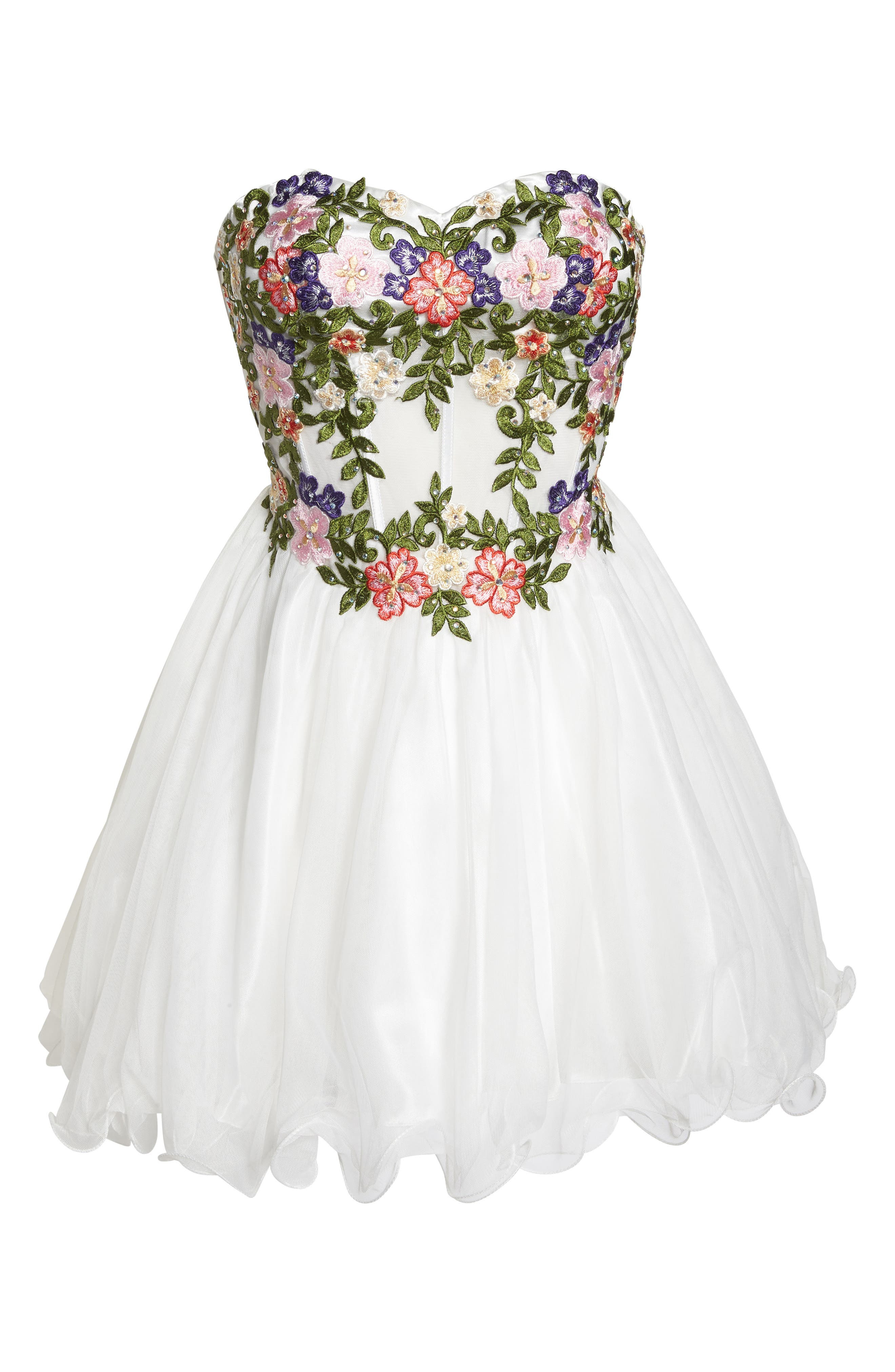 Embroidered Lace Fit & Flare Dress,                             Alternate thumbnail 6, color,                             IVORY/ MULTI