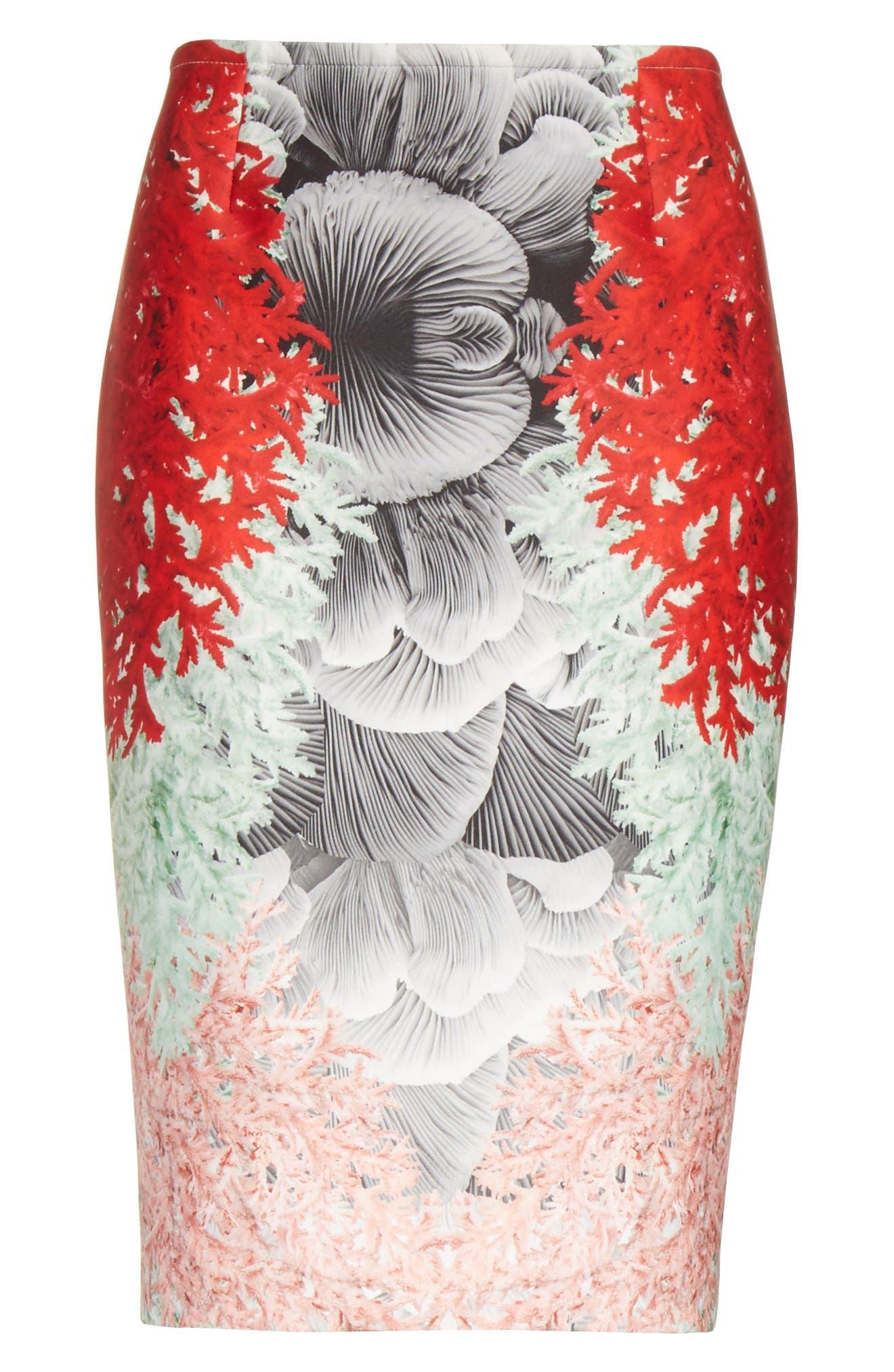 Coral Print Scuba Pencil Skirt,                             Alternate thumbnail 6, color,                             650