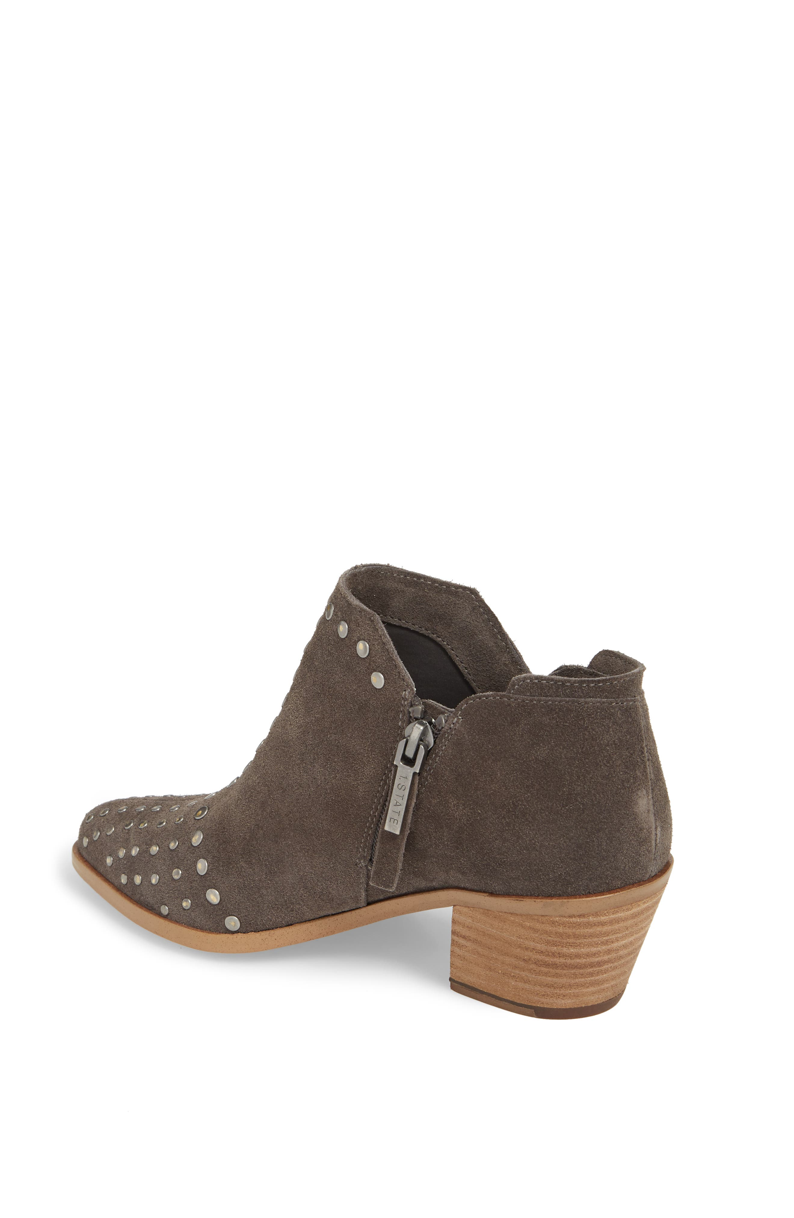 Loka Studded Bootie,                             Alternate thumbnail 2, color,                             CHARCOAL SUEDE