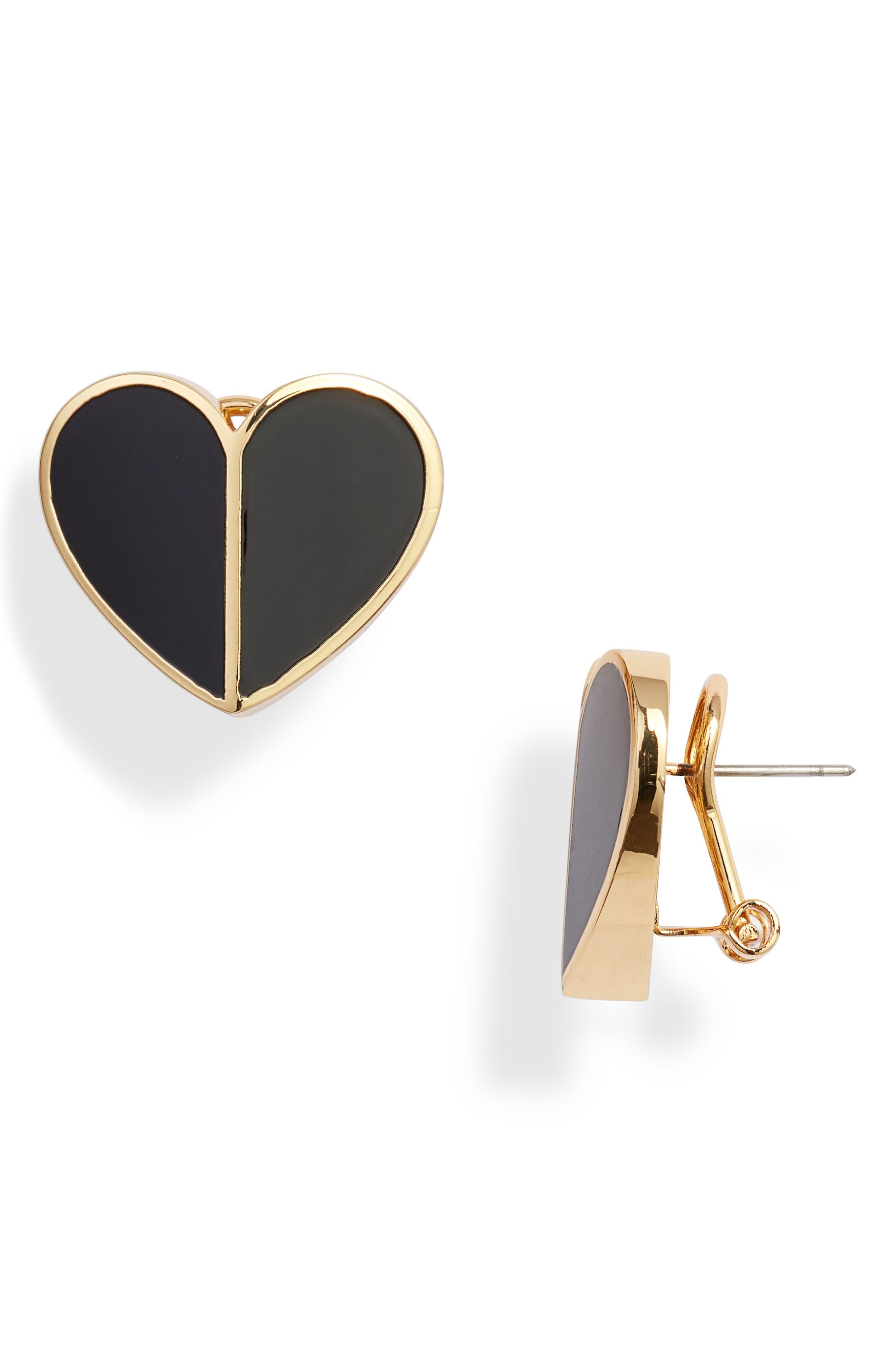heart statement stud earrings, Main, color, BLACK
