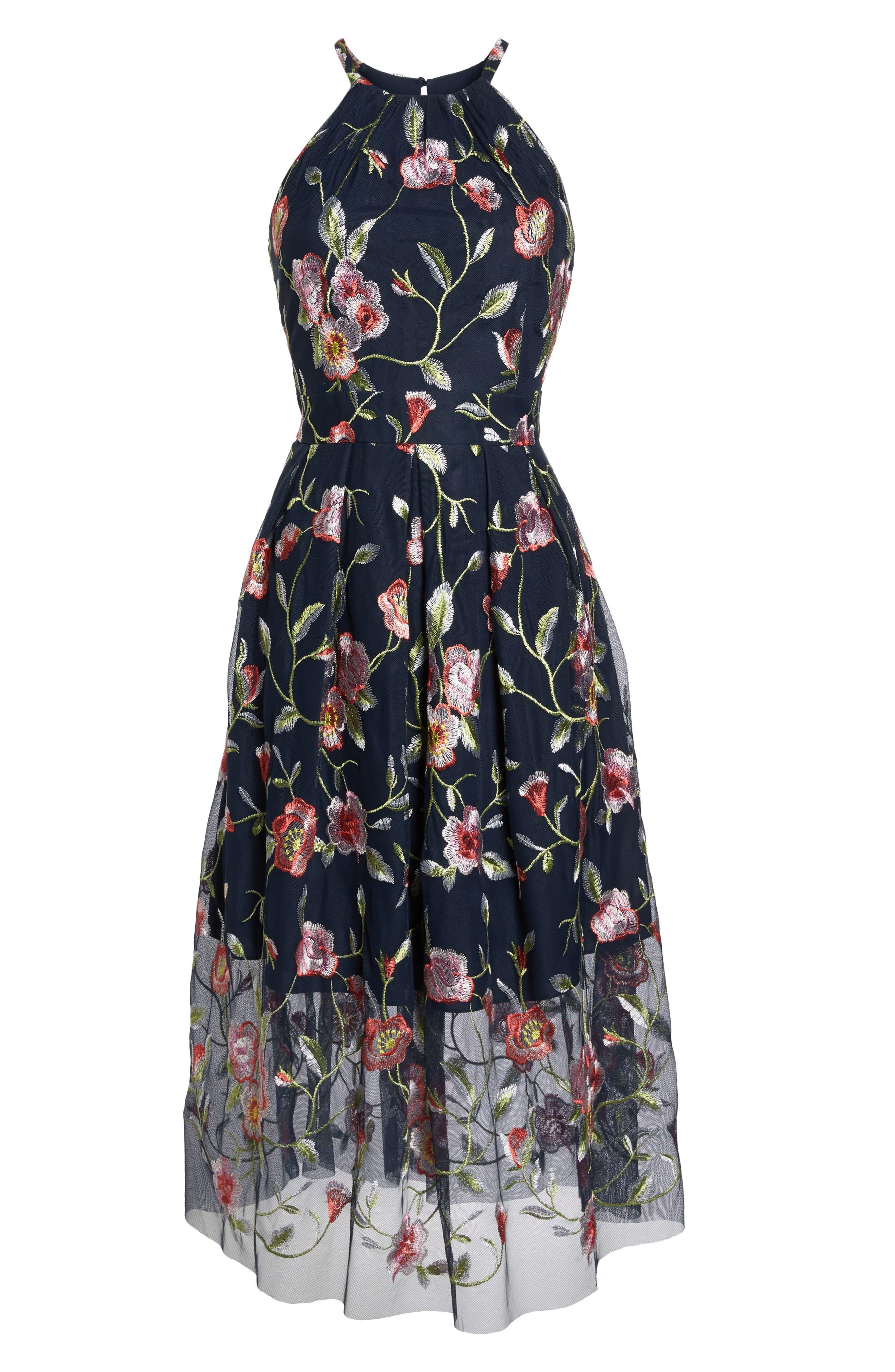 Embroidered Midi Dress,                             Alternate thumbnail 7, color,                             470