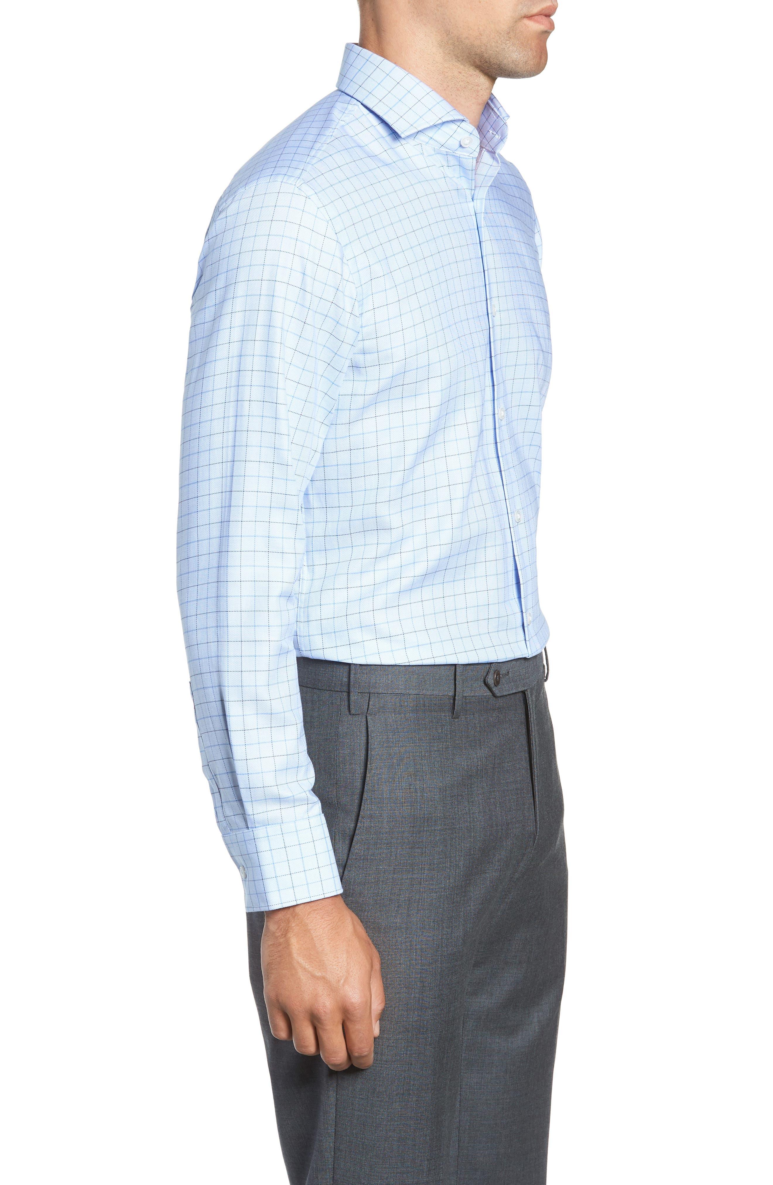 Mark Sharp Fit Check Dress Shirt,                             Alternate thumbnail 4, color,                             LIGHT BLUE