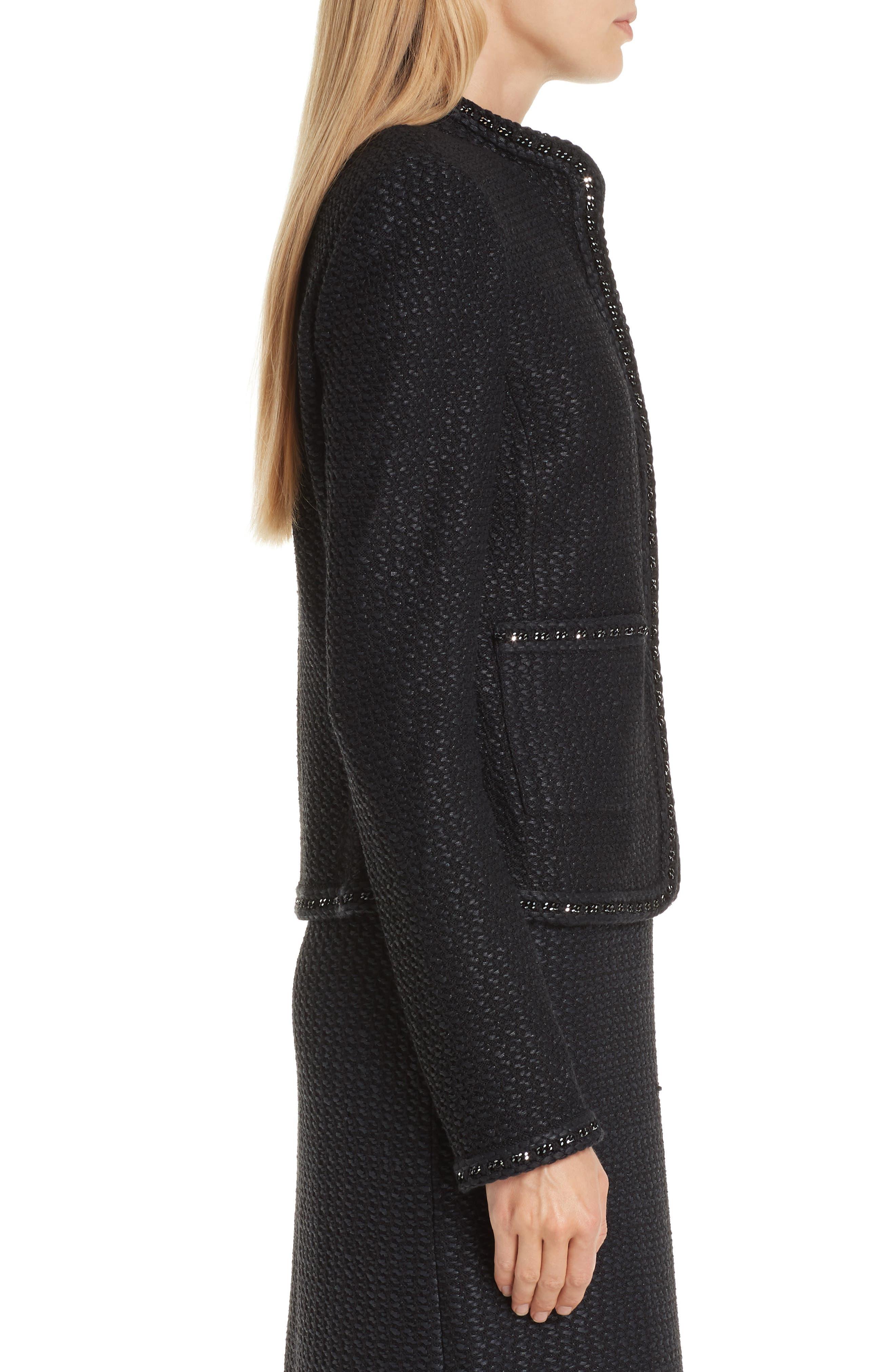 Adina Knit Short Jacket,                             Alternate thumbnail 3, color,                             CAVIAR