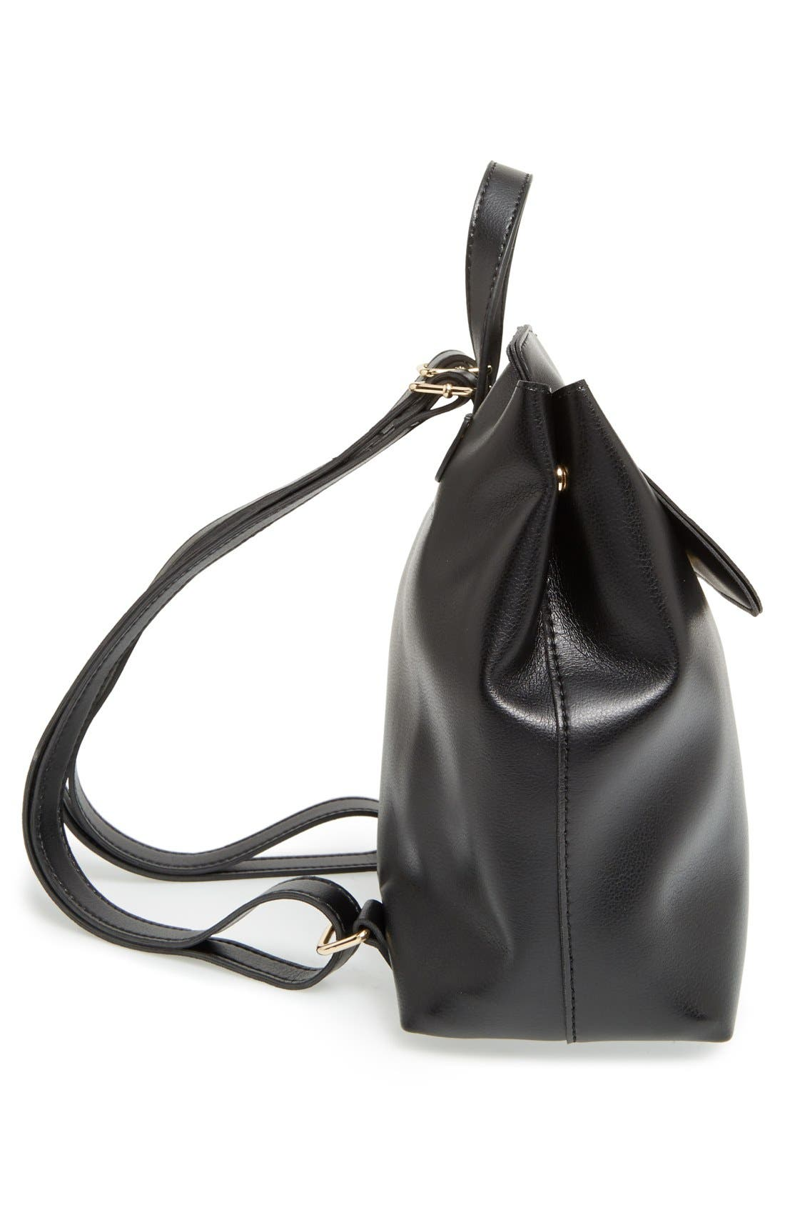 'Minimal Flap' Faux Leather Backpack,                             Alternate thumbnail 4, color,                             001
