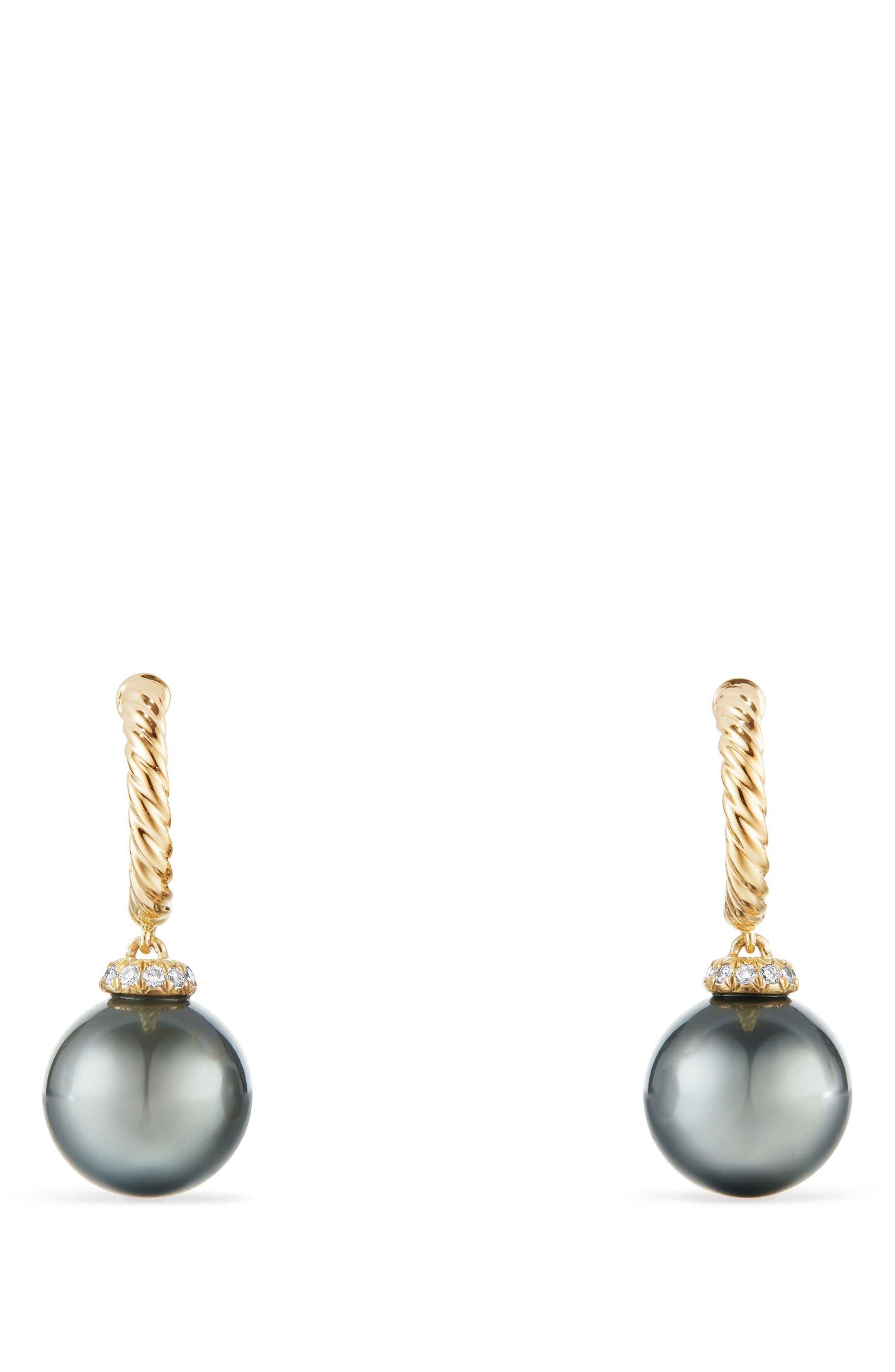 Solari Hoop Earrings with Diamonds and Genuine Pearl,                             Main thumbnail 1, color,                             GOLD/ DIAMOND/ GREY PEARL
