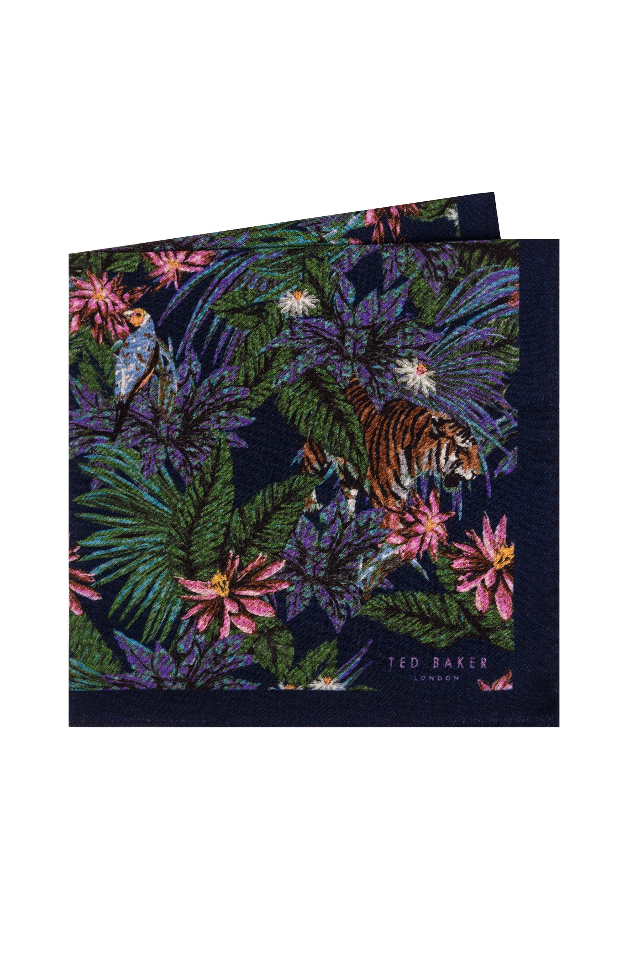 Jungle Print Wool Pocket Square,                             Main thumbnail 1, color,                             NAVY