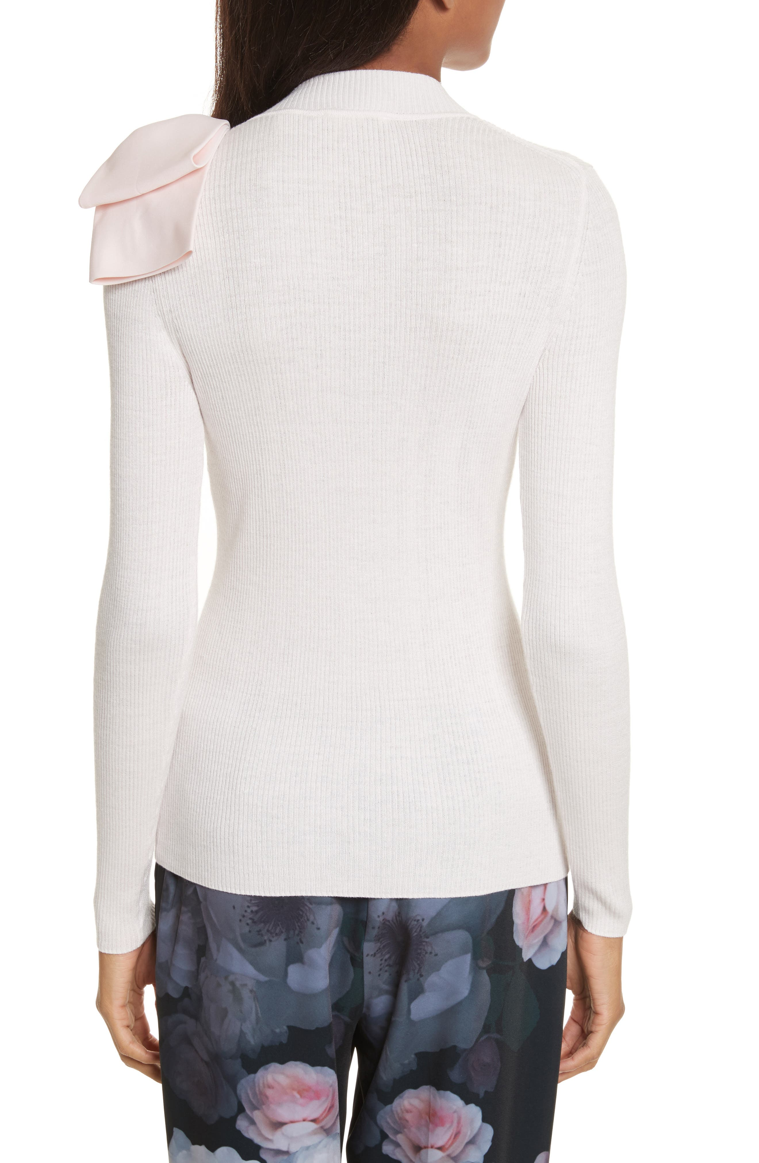 Nehru Bow Skinny Rib Knit Sweater,                             Alternate thumbnail 4, color,