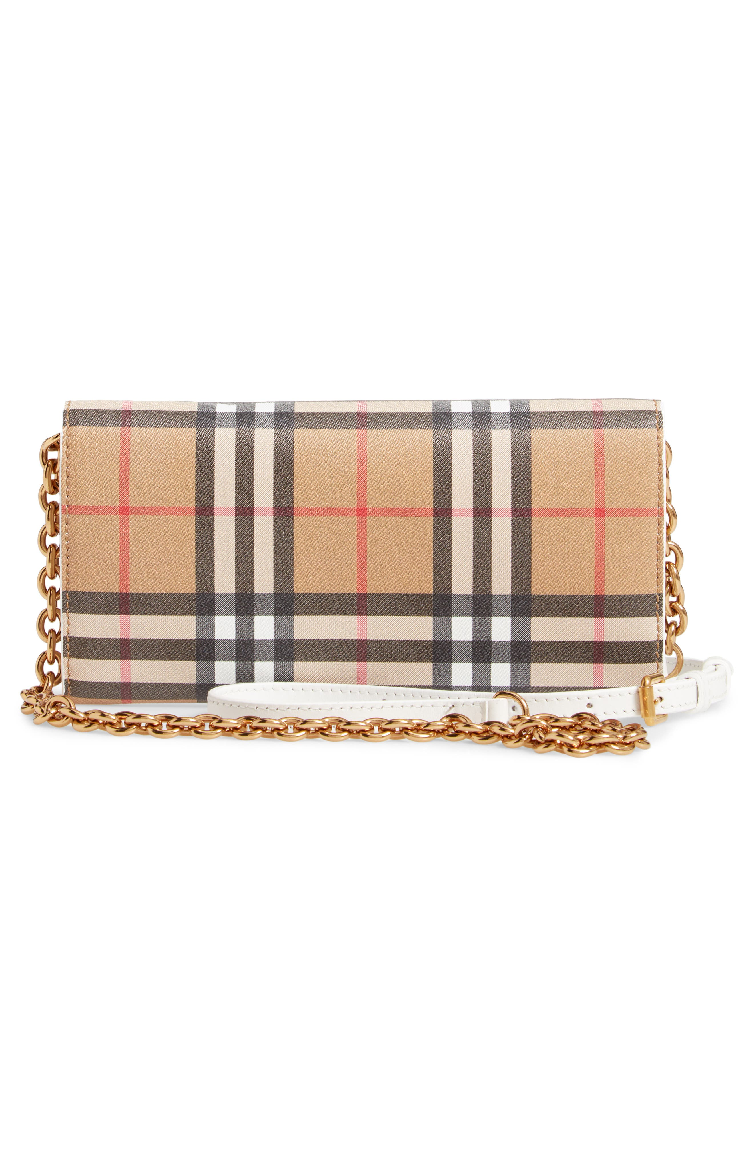 Henley Vintage Check Wallet on a Chain,                             Alternate thumbnail 3, color,                             CHALK WHITE