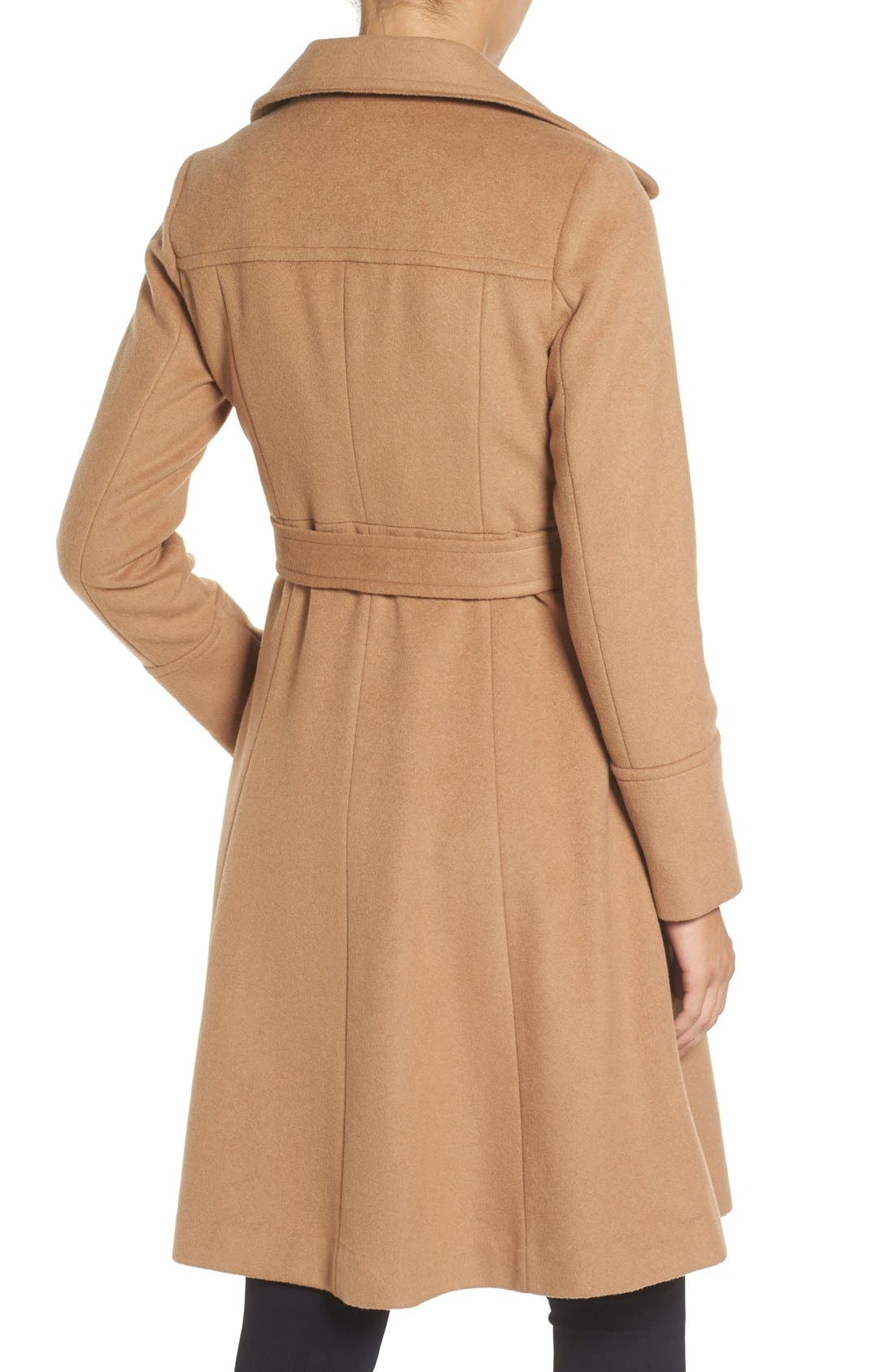 Luxe Wool Blend Belted Long A-Line Coat,                             Alternate thumbnail 4, color,