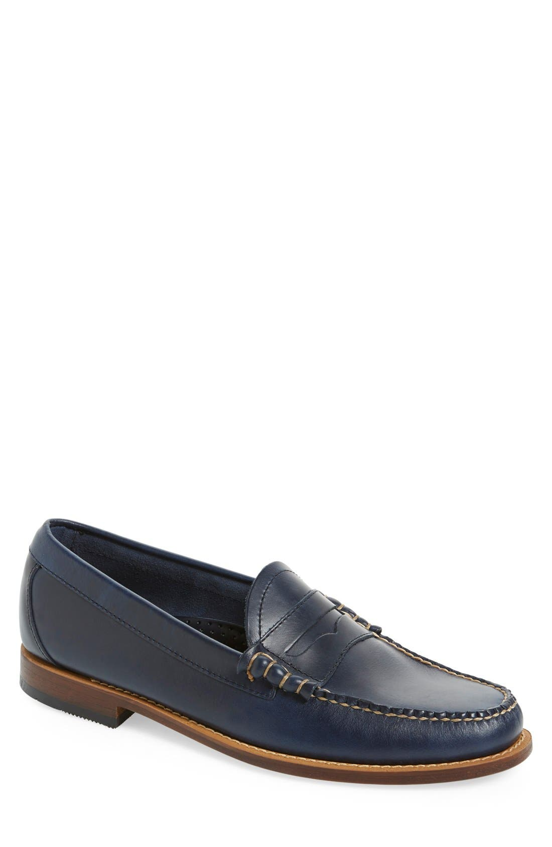 'Larson - Weejuns' Penny Loafer,                             Main thumbnail 1, color,                             BLUE LEATHER