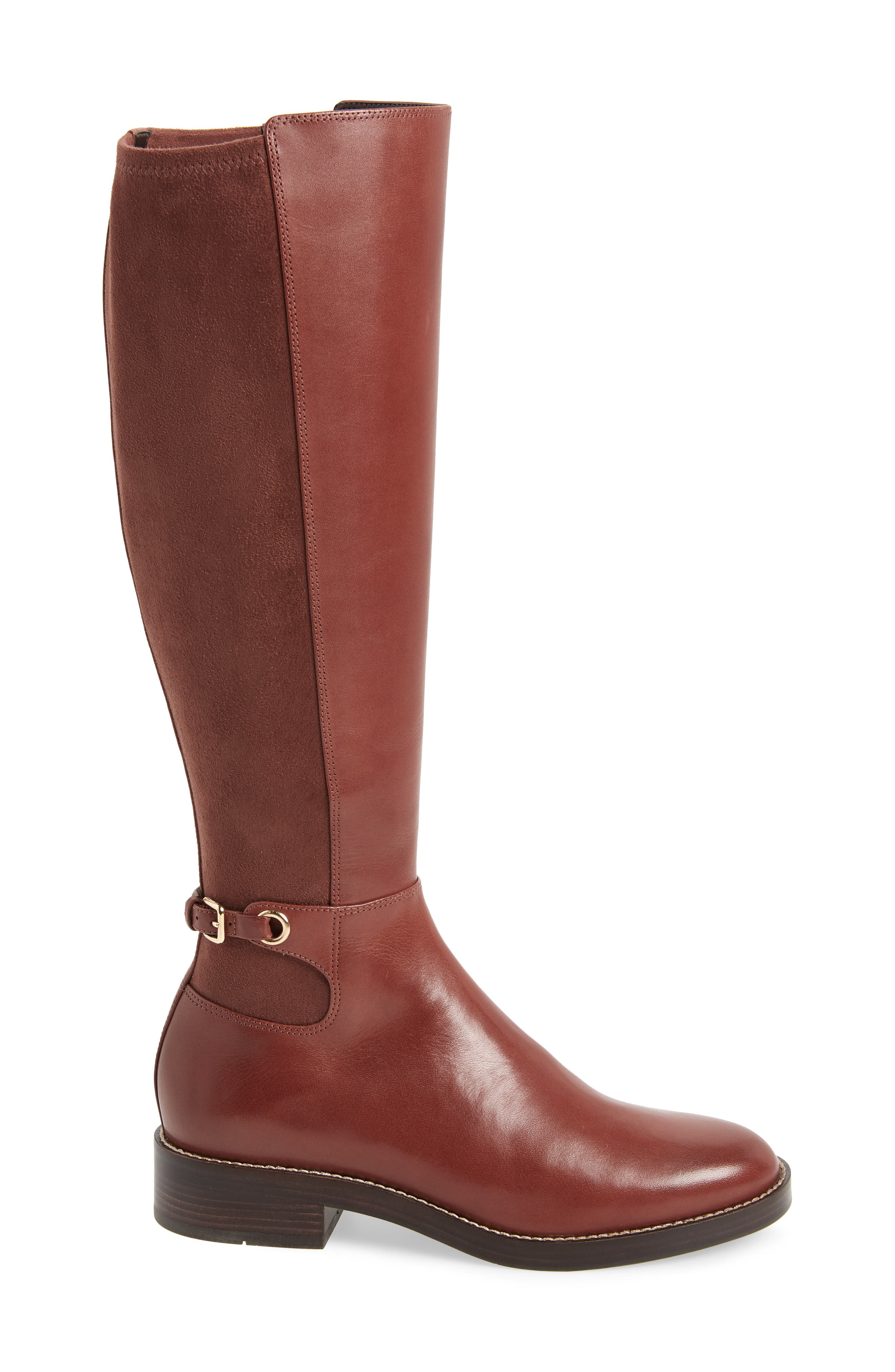 Parker Grand Stretch Knee High Boot,                             Alternate thumbnail 3, color,                             CHERRY MAHOGANY LEATHER