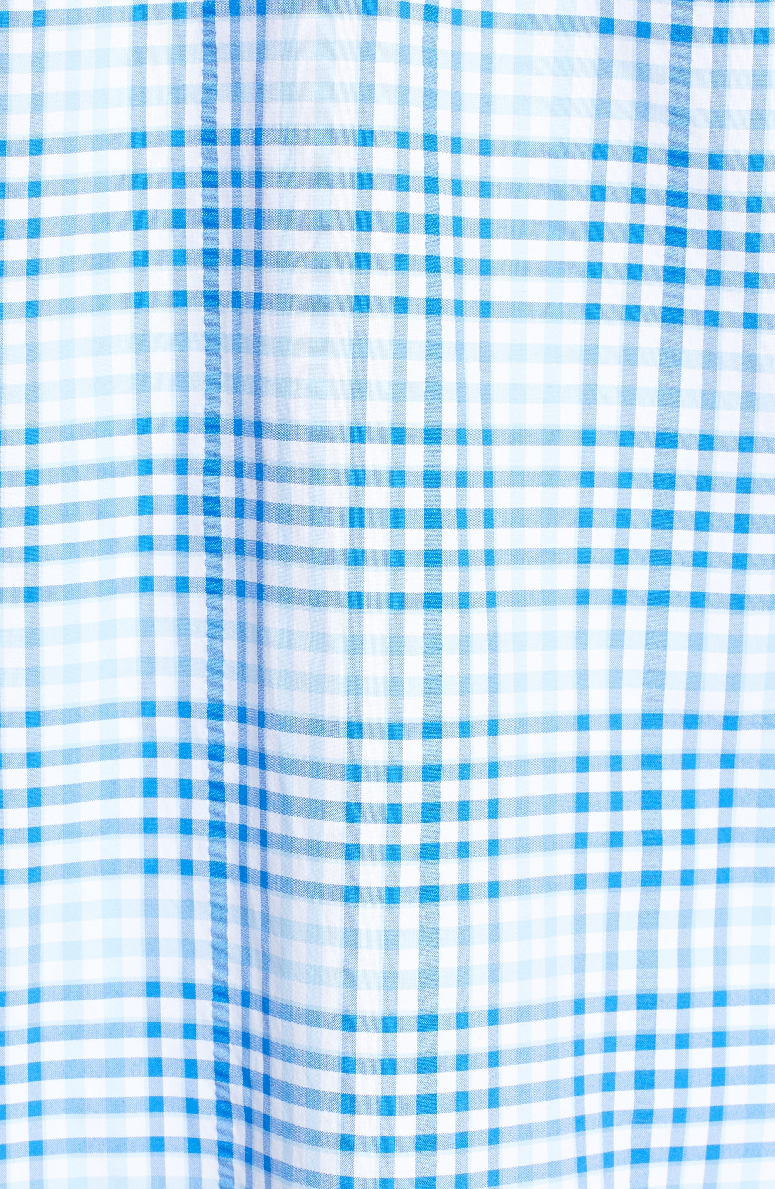 South Shore Harbor Regular Fit Plaid Performance Sport Shirt,                             Alternate thumbnail 5, color,                             JAKE BLUE